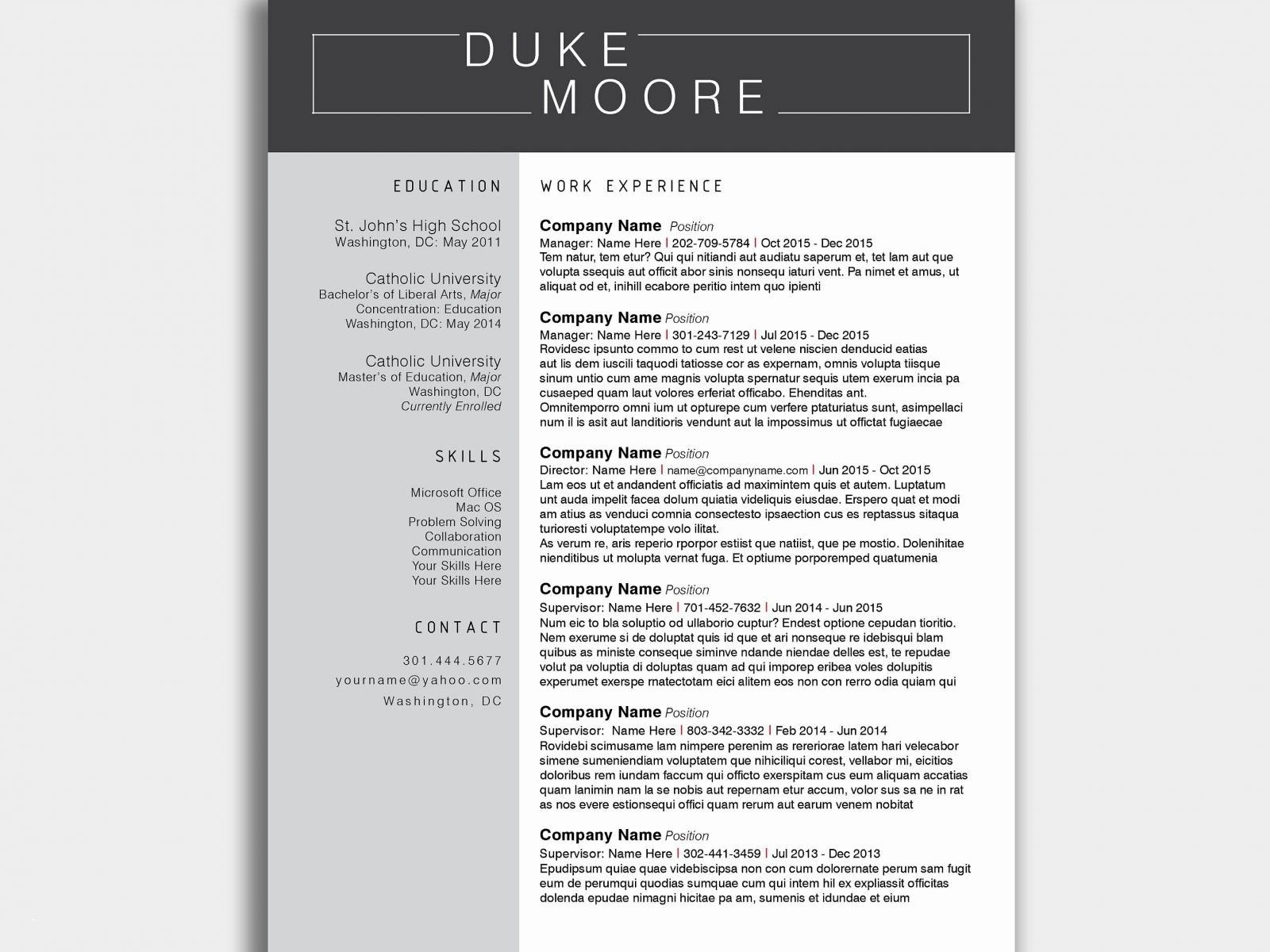 Film Resume Template Word - Microsoft Word Resume Template for Mac Valid Word Resume Template