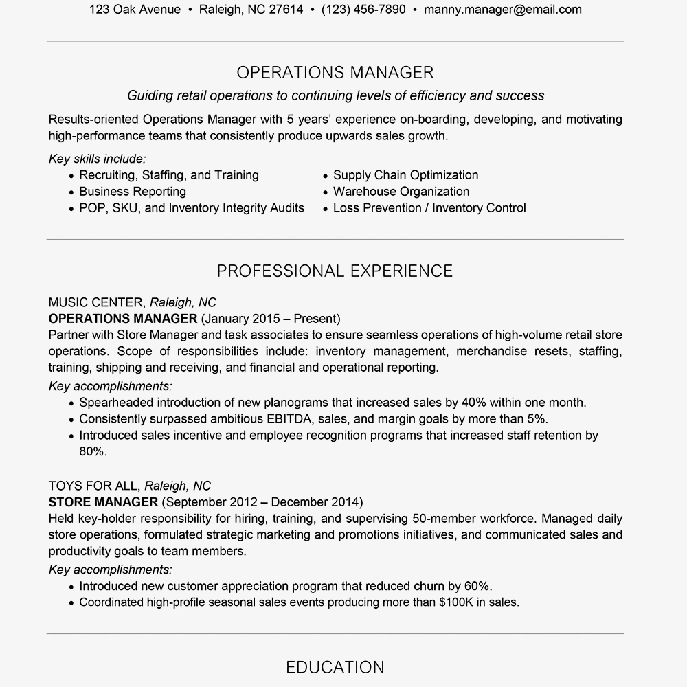 Finance Manager Resume Sample - Management Resume Examples and Writing Tips