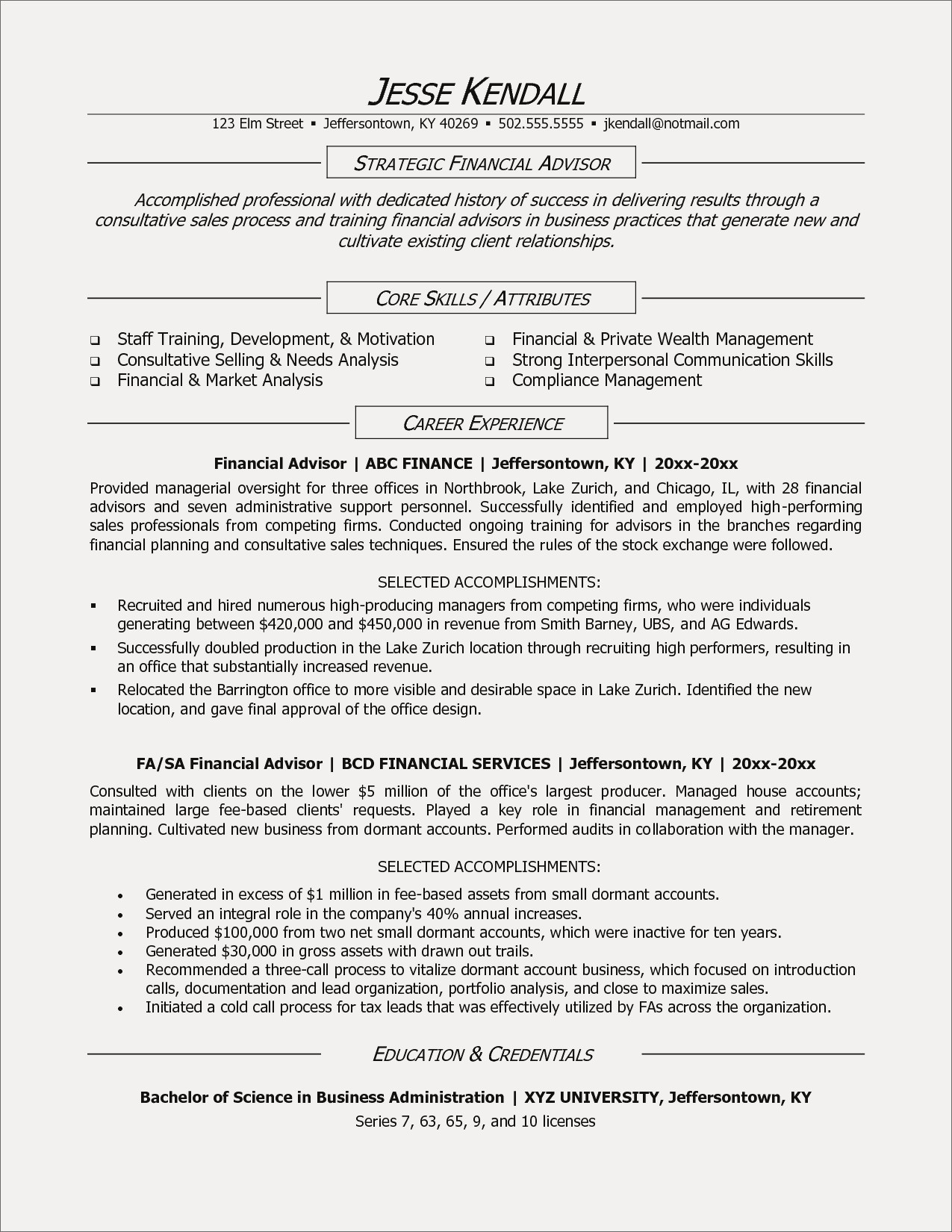 Financial Advisor Resume Template - Certified Financial Planner Resume Refrence Financial Advisor Resume