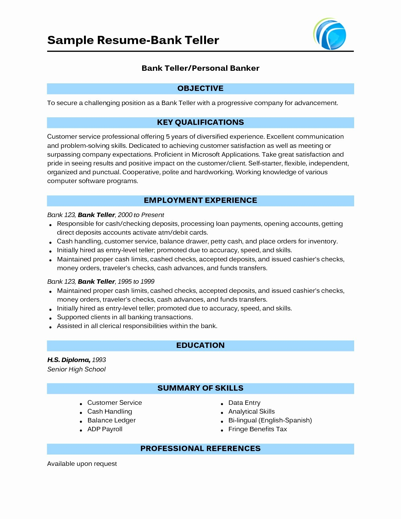 Find Resumes Online - 2018 Professional Resume format for Bank Job Template Line 794
