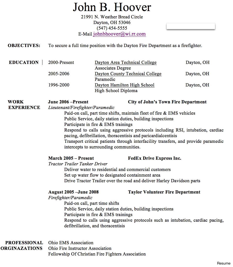 Fire Department Promotional Resume Template - Fire Fighter Resume Example for Free Paramedic Templates Best