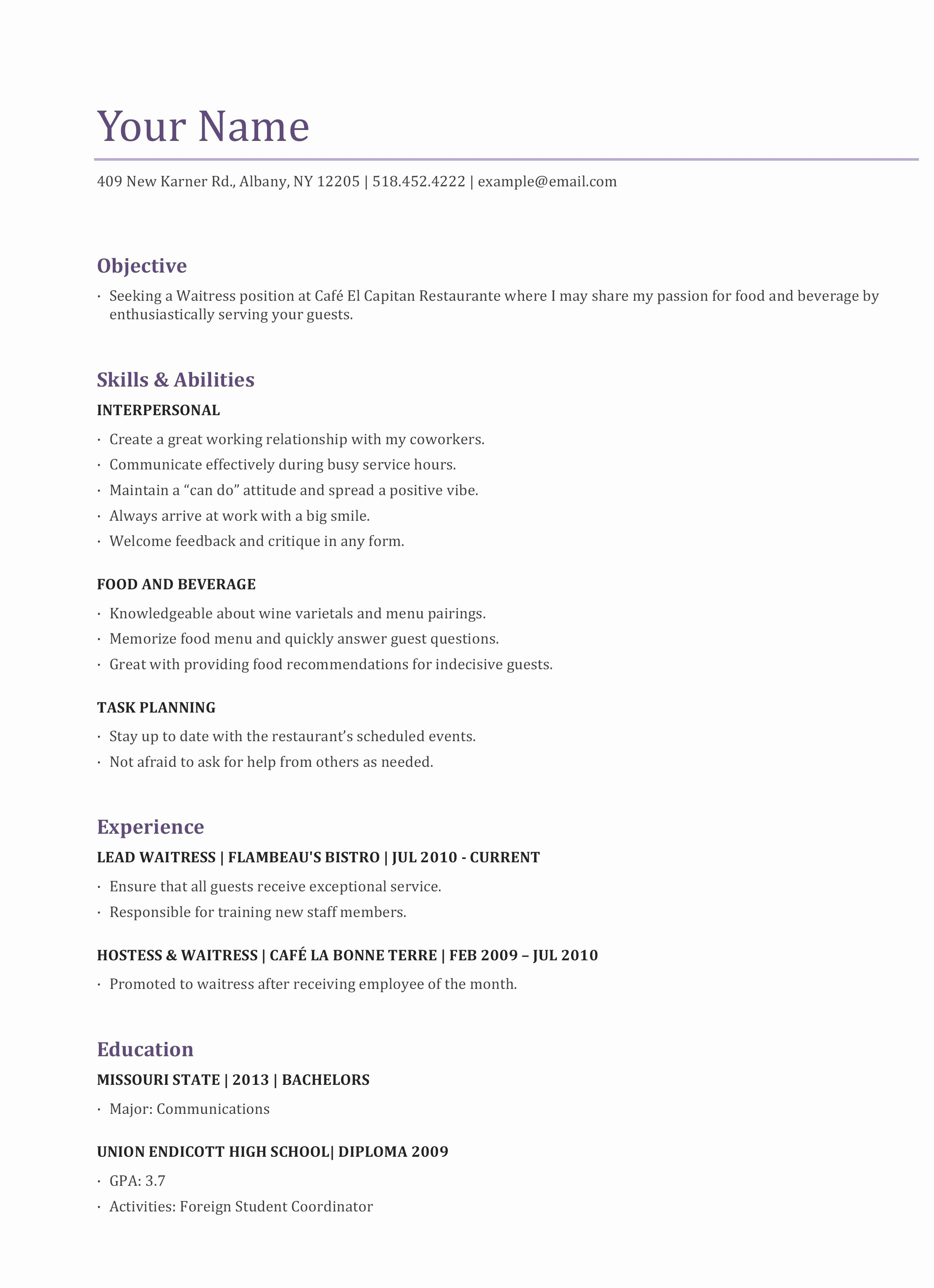 Food and Beverage Resume Template - Resume In Spanish Unique Best Examples Resumes Ecologist Resume 0d