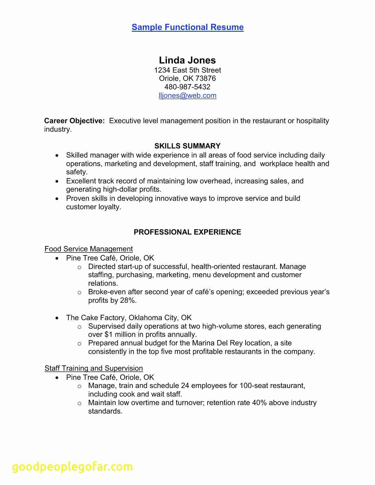 Food Manager Resume - Warehouse Manager Resume Lovely Food Service Manager Resume