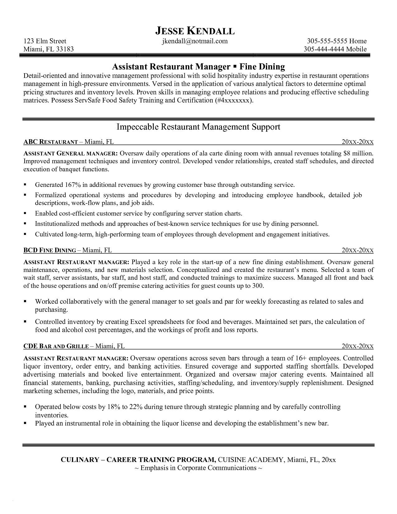Food Manager Resume - Restaurant General Manager Resume Paragraphrewriter