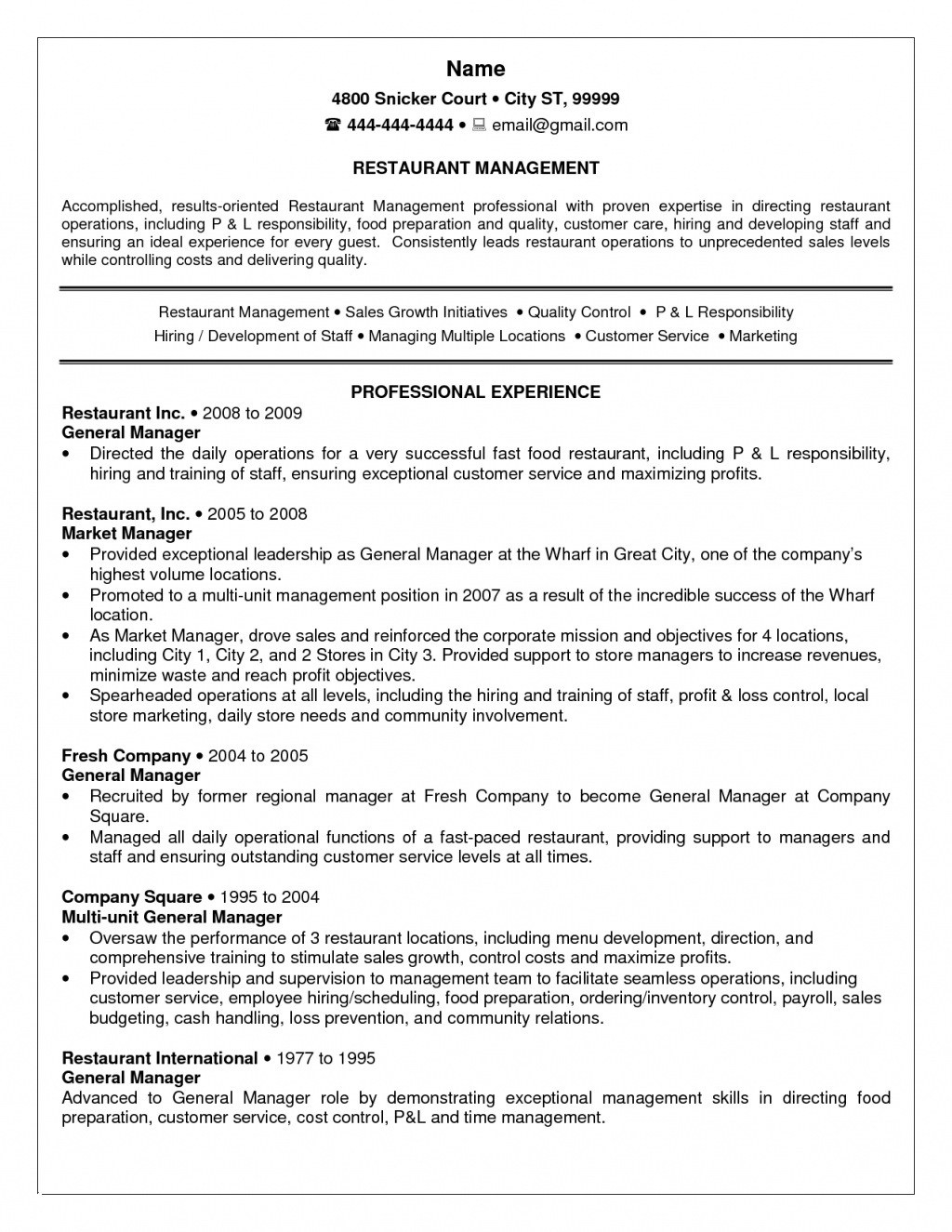 Food Manager Resume - 22 Elegant General Manager Resume