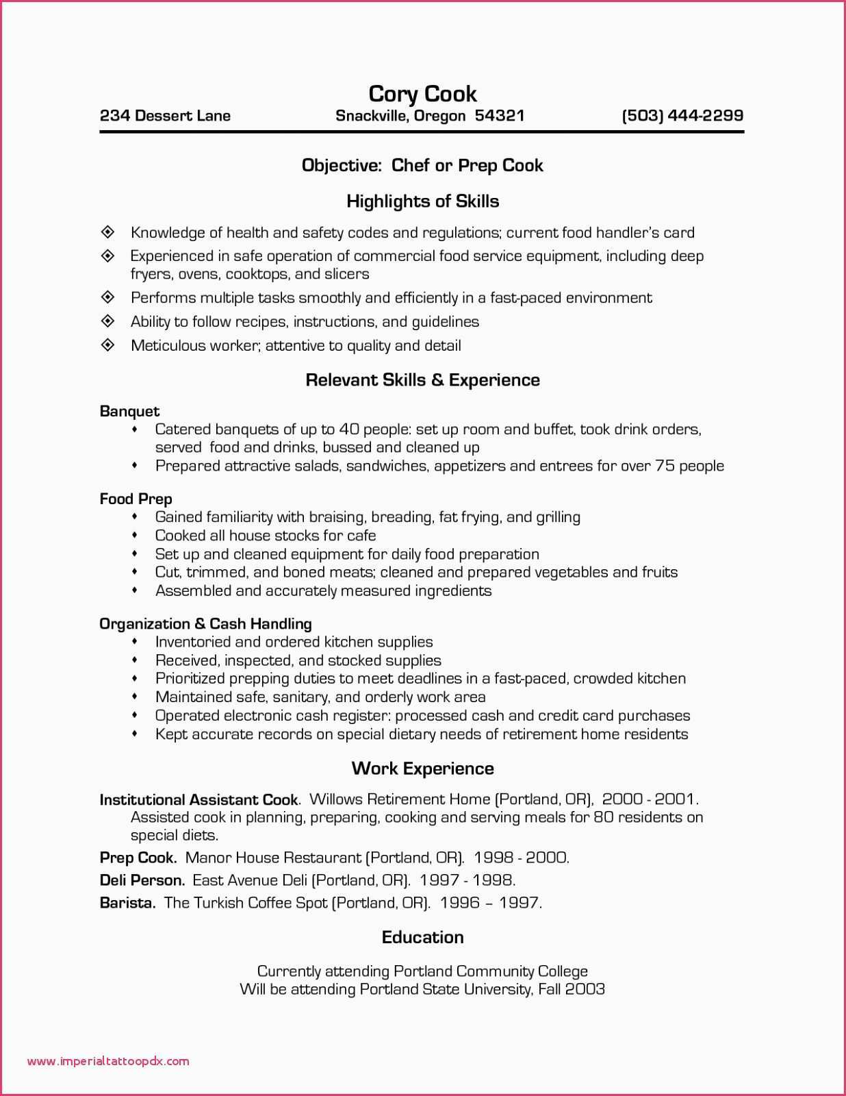 Food Prep Resume - Line Cook Resume Examples Prep Cook Resume Sample Unique Line Cook