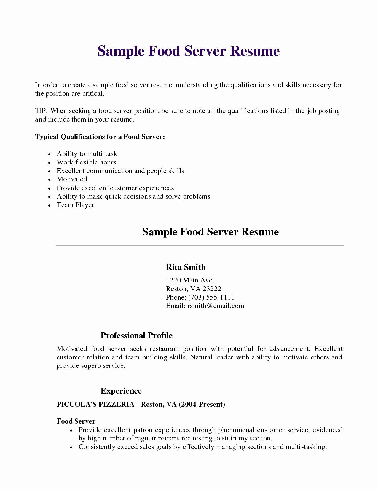 Food Server Job Description Resume - 30 Server Responsibilities for Resume