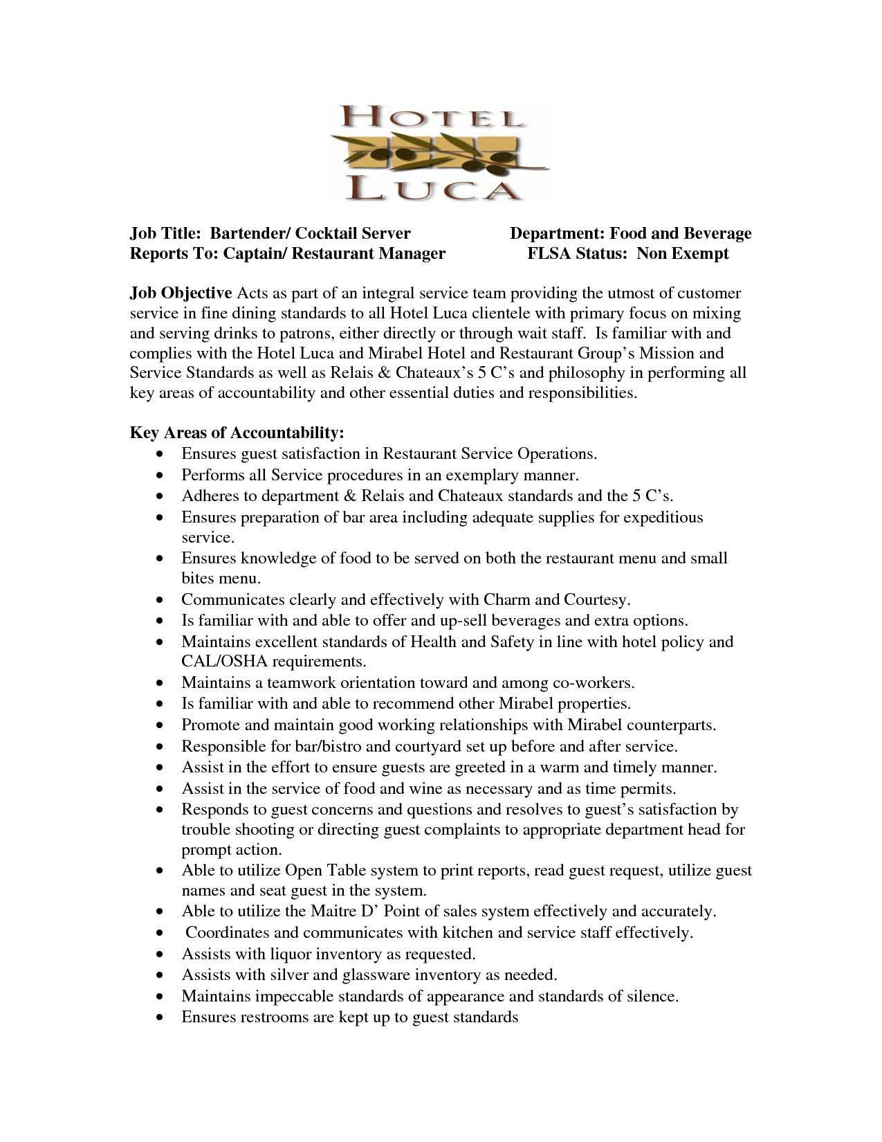 Food Server Job Description Resume - 17 Food Server Job Description for Resume