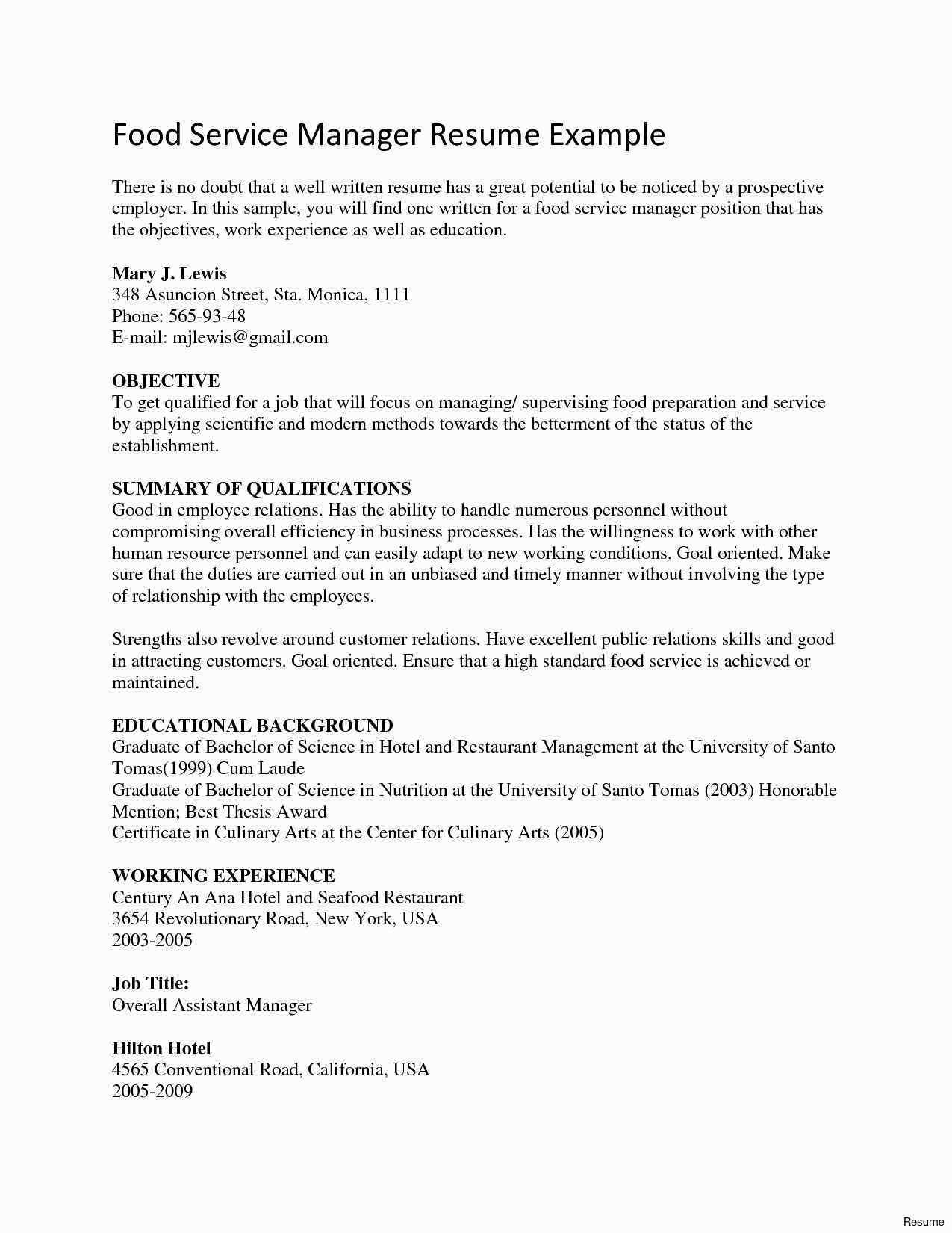 Food Service Manager Resume - Food Service Resume Best 51 Elegant Resume Samples for Food