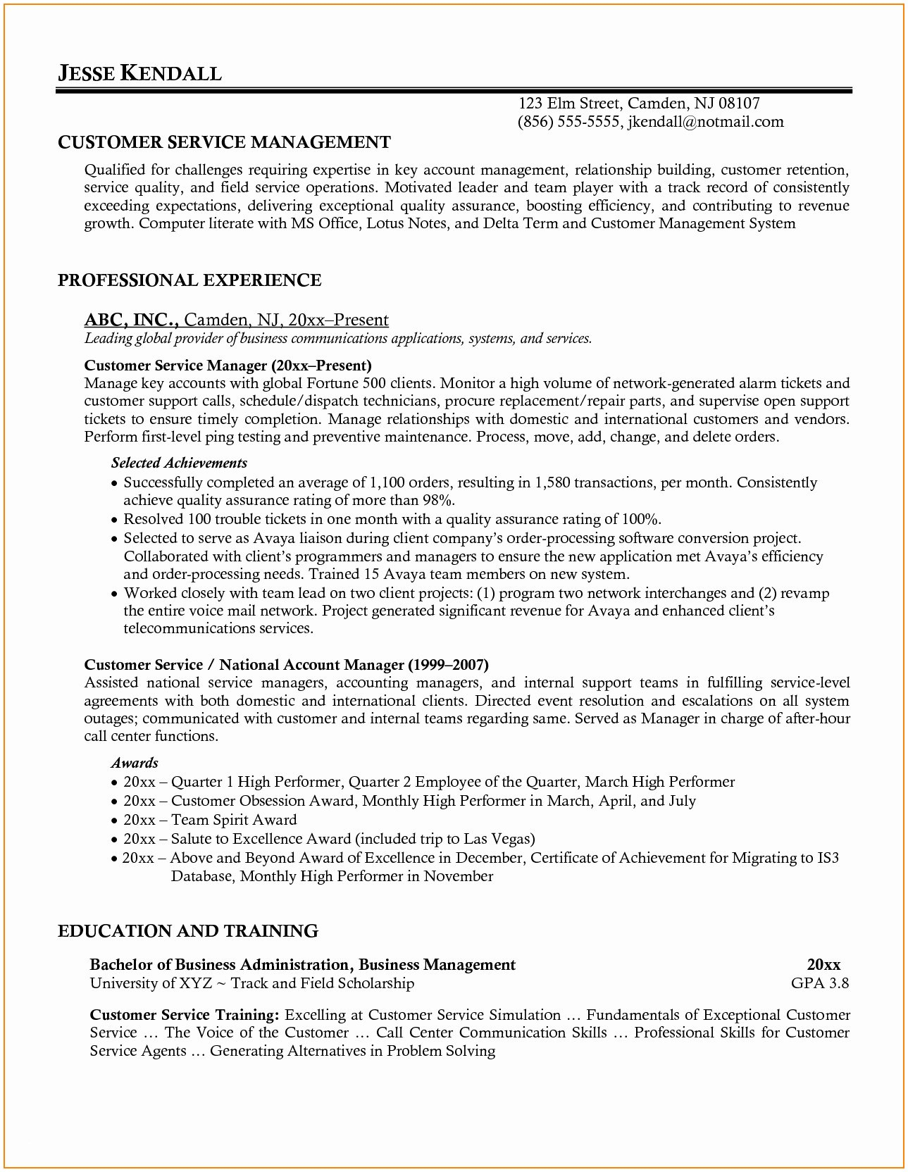 Food Service Manager Resume - Customer Service Manager Resume Sample