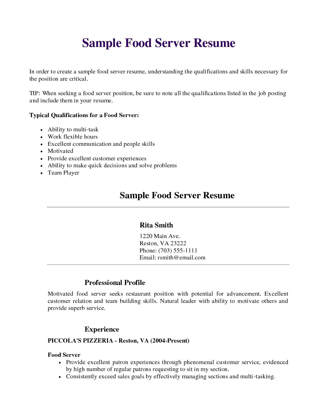 Food Service Skills for Resume - Server Resume Elegant Food Server Resume Inspirational Server Resume