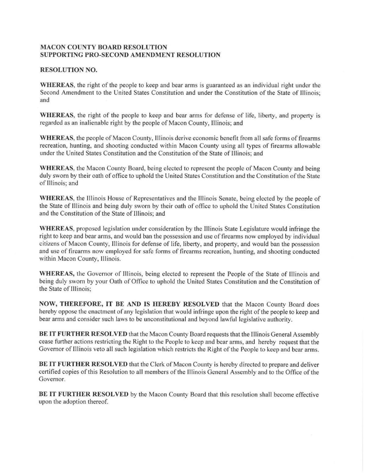 For Your Review and Consideration - Macon County Board Approves Resolution Supporting the 2nd Amendment