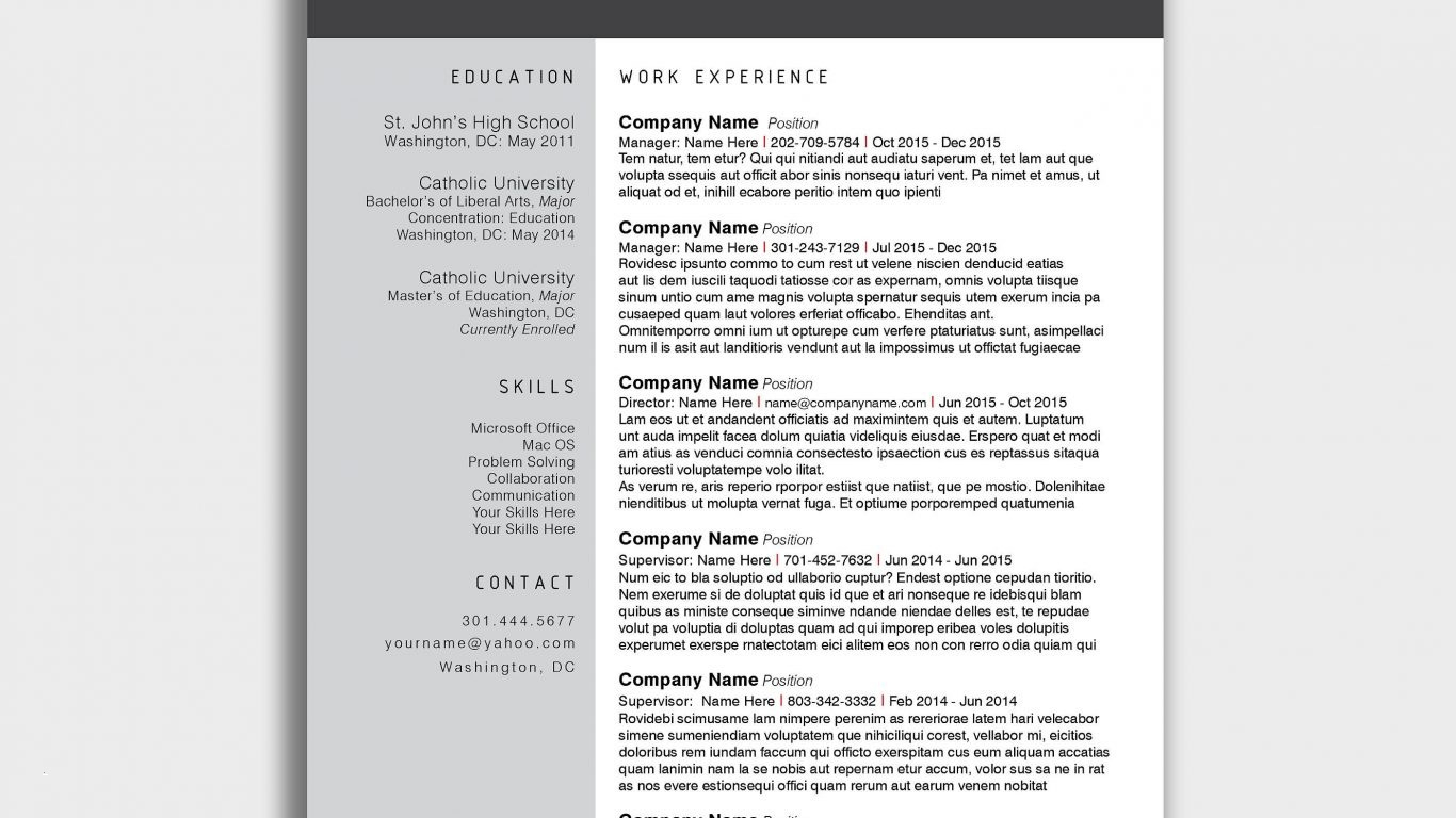 Free Modern Resume Templates for Word - Creative Resume Templates for Mac Unique Free Modern Resume