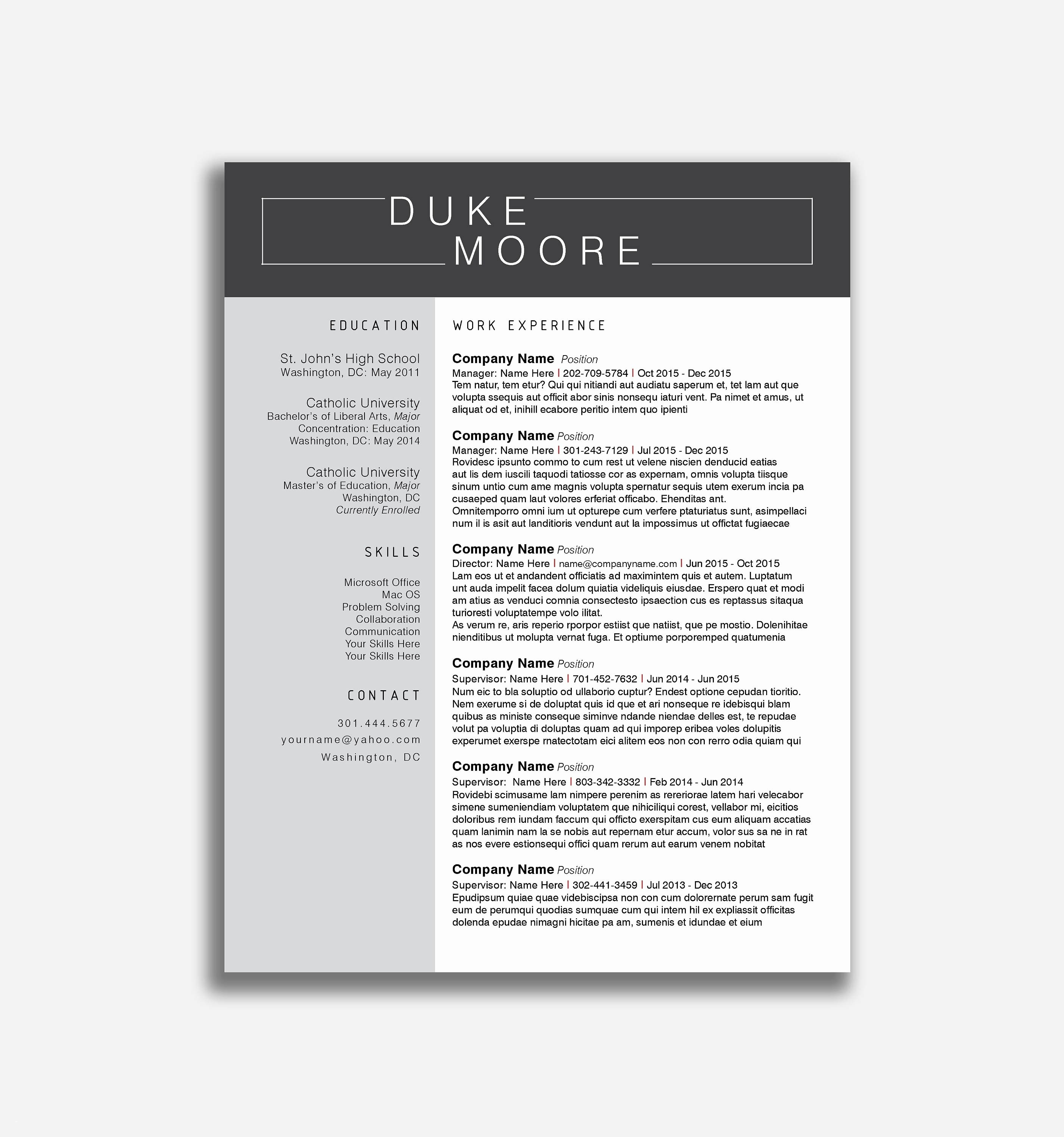 Free Modern Resume Templates for Word - Free Creative Resume Templates Microsoft Word Best Resume
