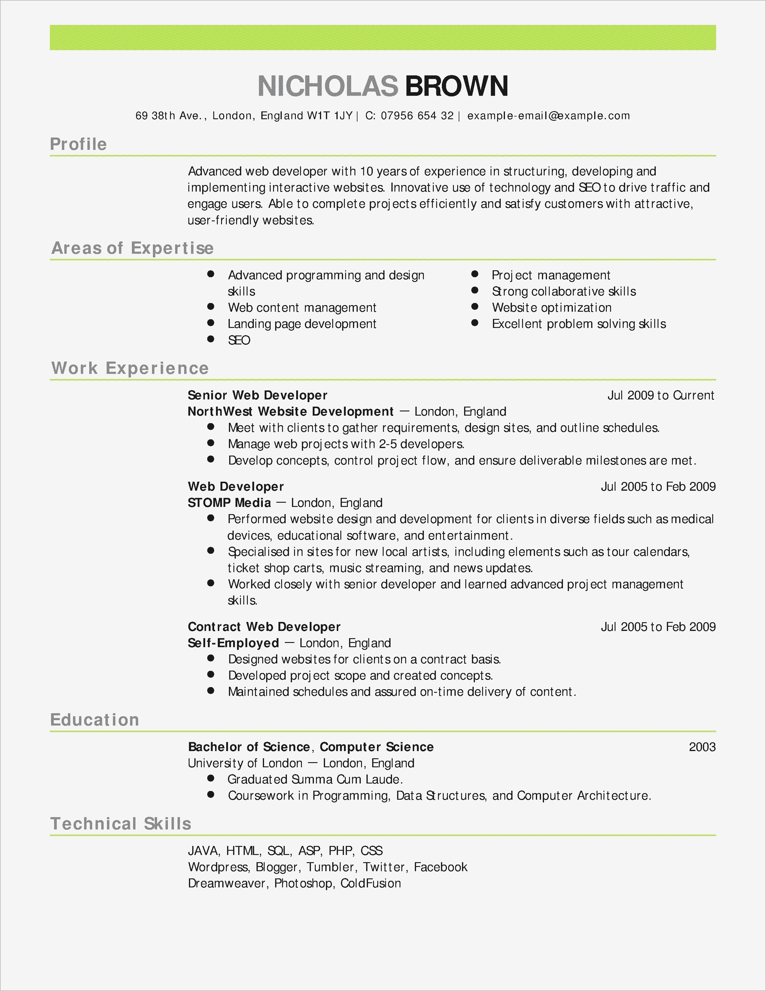 Free Ms Word Resume Templates - Elegant Free Resume Template for Word