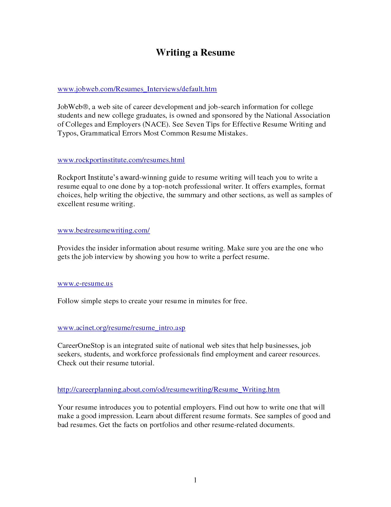 Free Online Resume Writer - 42 Awesome Writing A Professional Resume