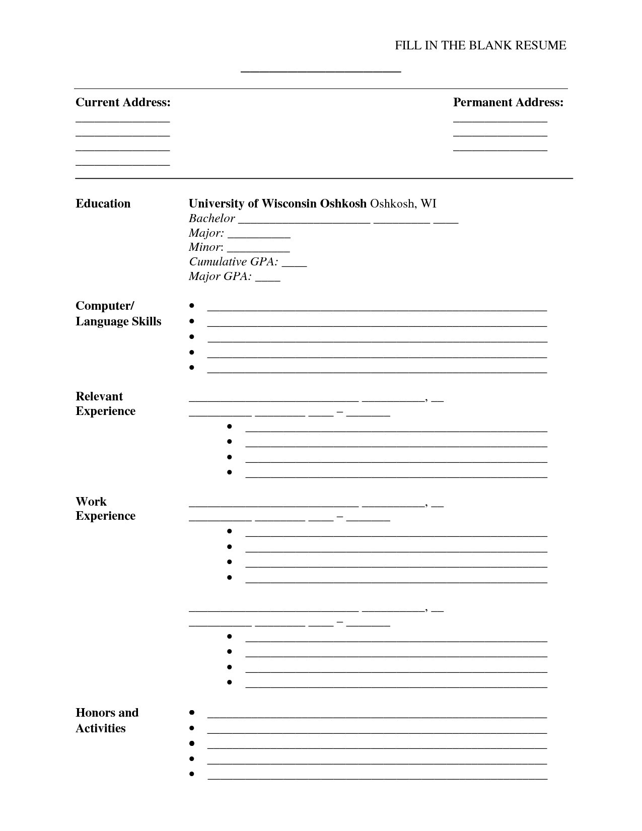Free Printable Fill In the Blank Resume Templates - Resume Templates Blank