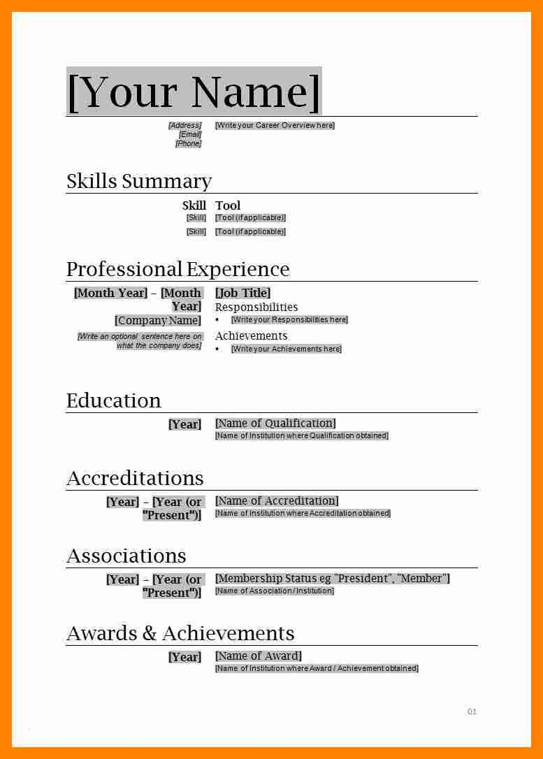 Free Resume Template Word - Resume Template Ms Word 2007 Inspirational Download Resume Templates