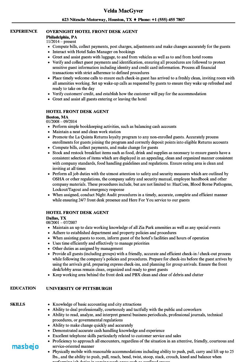 Front Desk Agent Resume - Front Desk Resume Example Fresh Examples Resumes Ecologist Resume 0d
