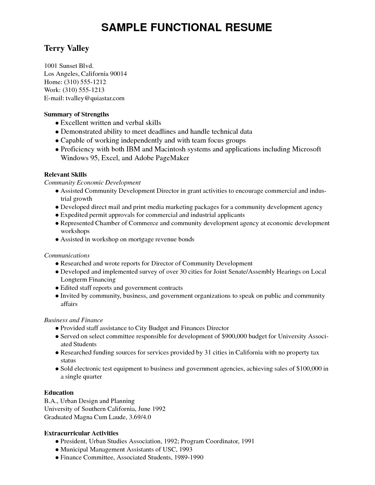 Functional Resume Template Pdf - 64 Concepts Resume Writing Template