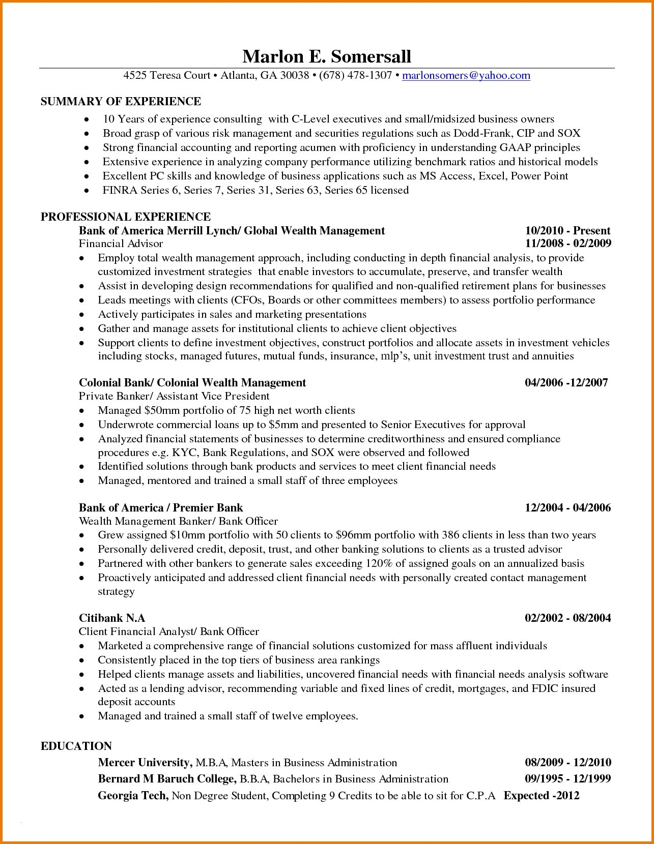 Gatech Resume Template - Financial Analyst Resume Sample Fresh Business Analyst Resume