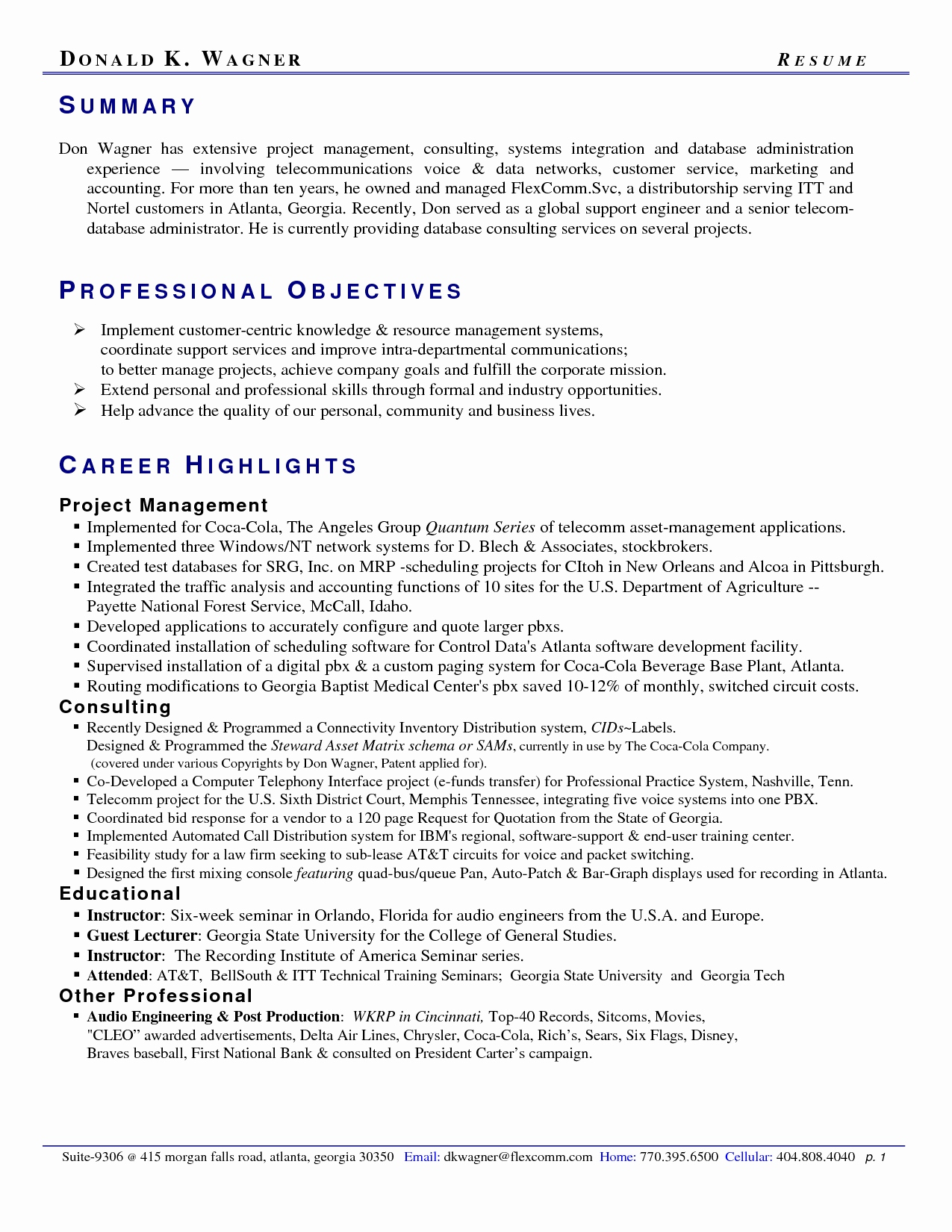 Gatech Resume Template - Georgia Tech Resume Template New Resume Professional Summary