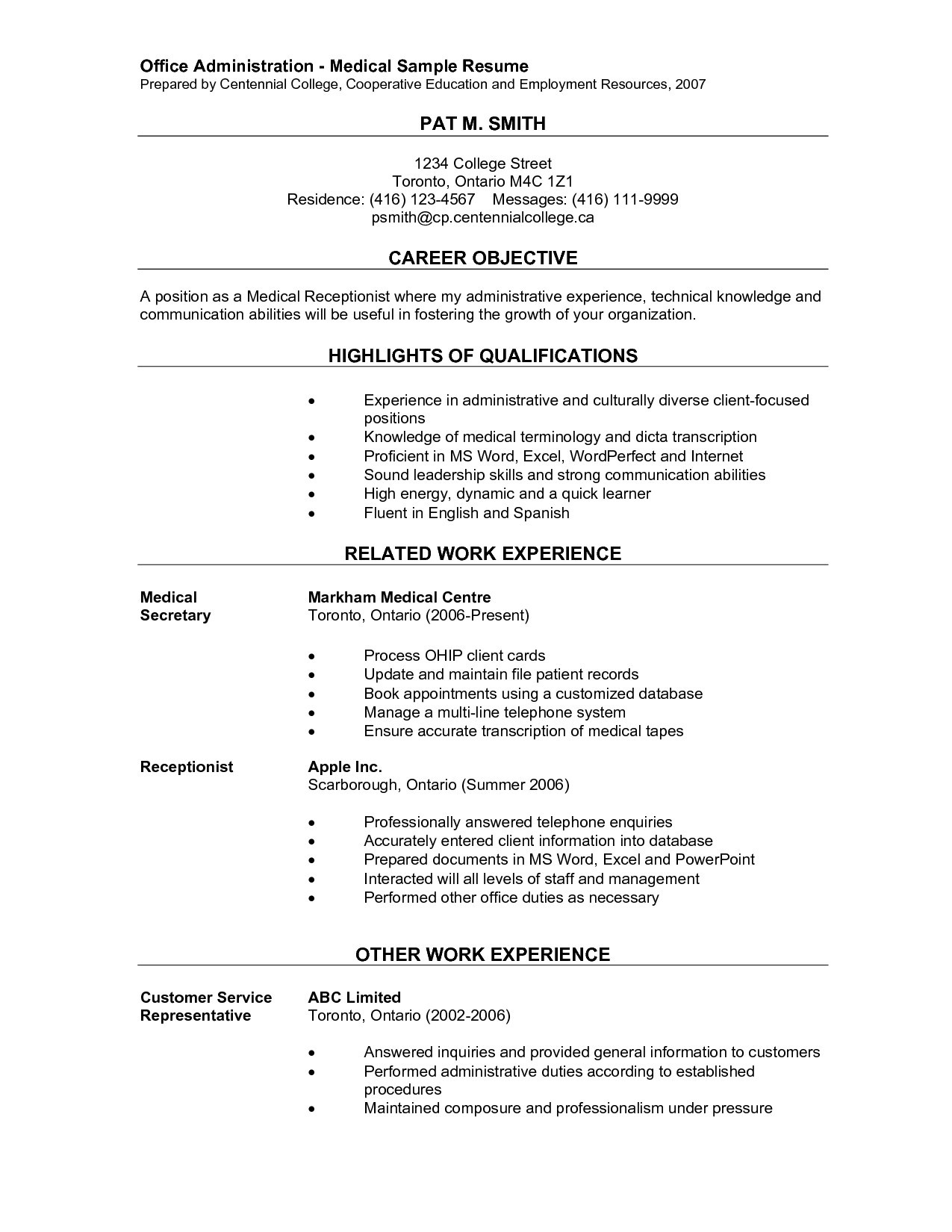Glassdoor Resume Critique - Receptionist Duties for Resume