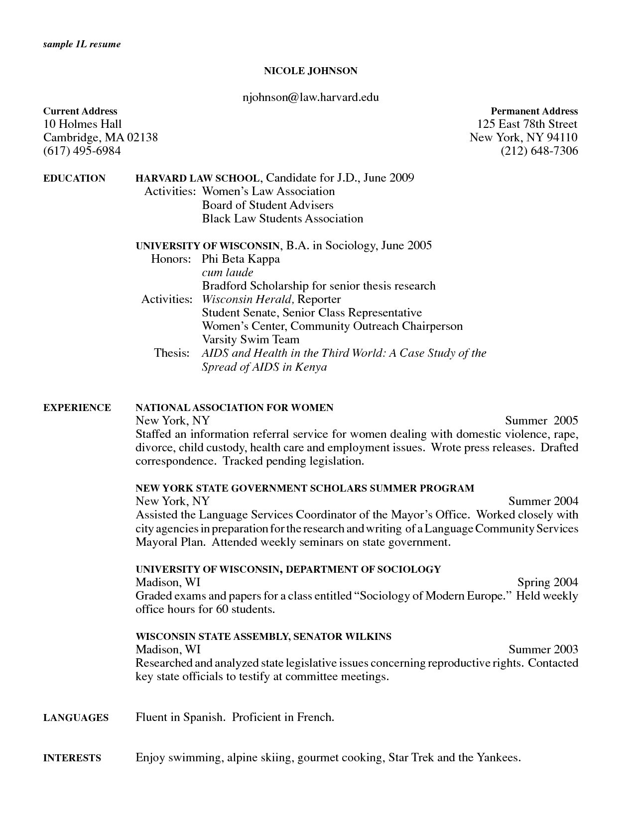 Grad School Resume - Example Resume Examples for Graduate School Application
