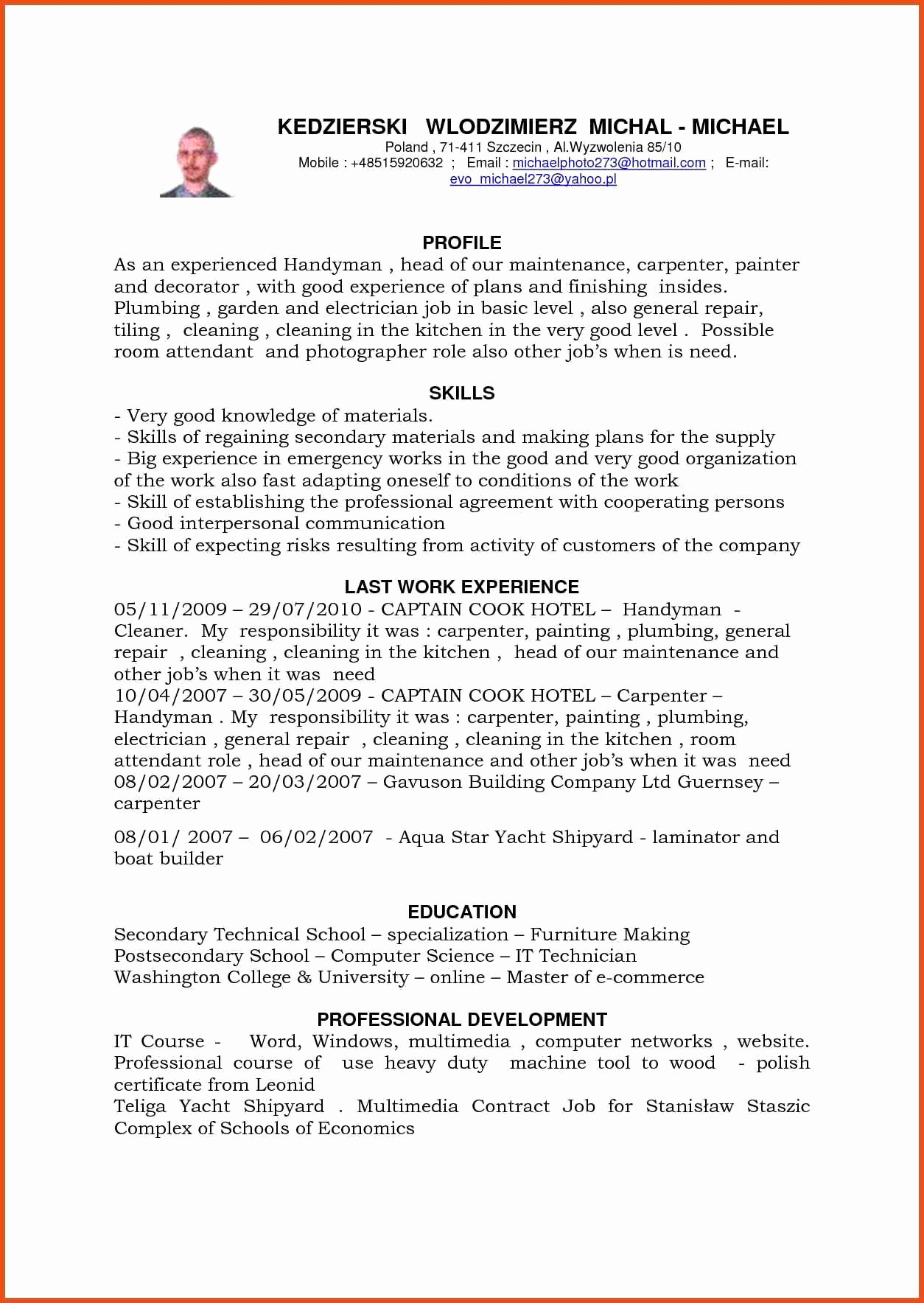 Handyman Resume Example - Handyman Resume Sample Maintenance Resume Examples Unique Exelent
