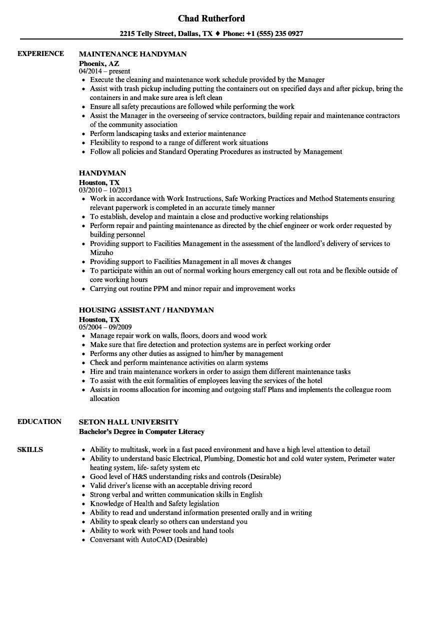 Handyman Resume Template - Another Word for Handyman for Resume Nmdnconference Example