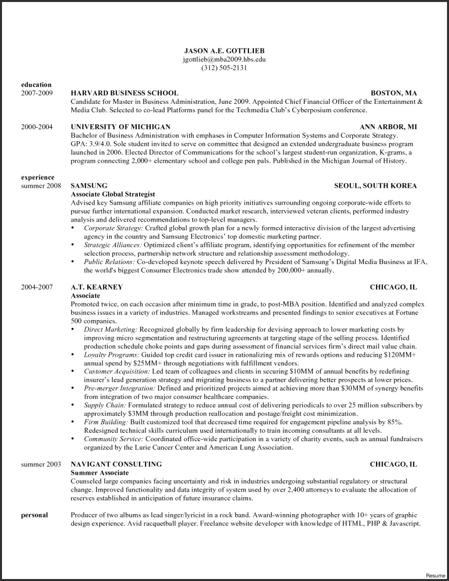 Hbs Resume Template - 45 Fresh Resume for Mba Application
