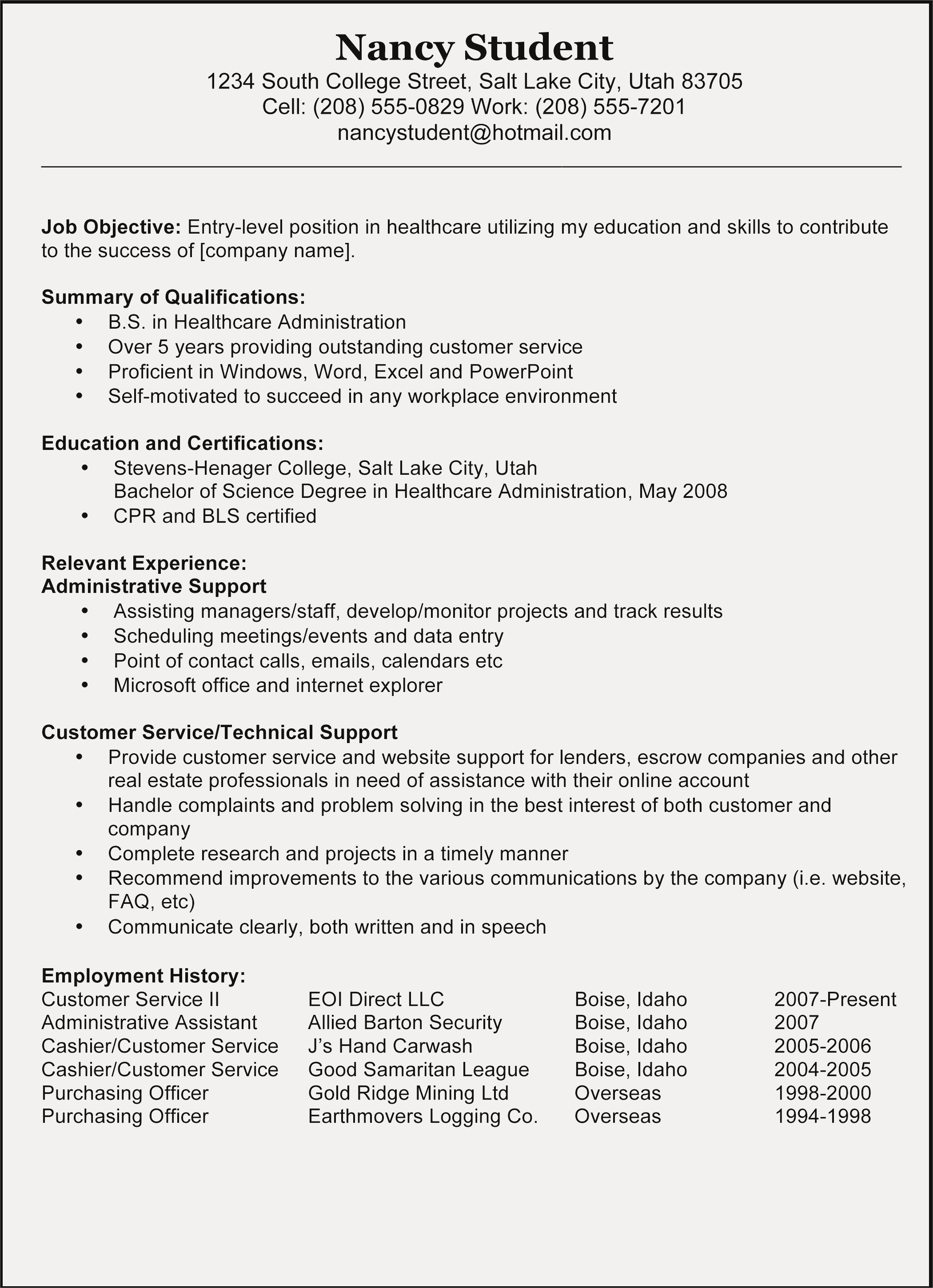 Healthcare Administration Resume - Administrative Resume Template byod Policy Template Elegant