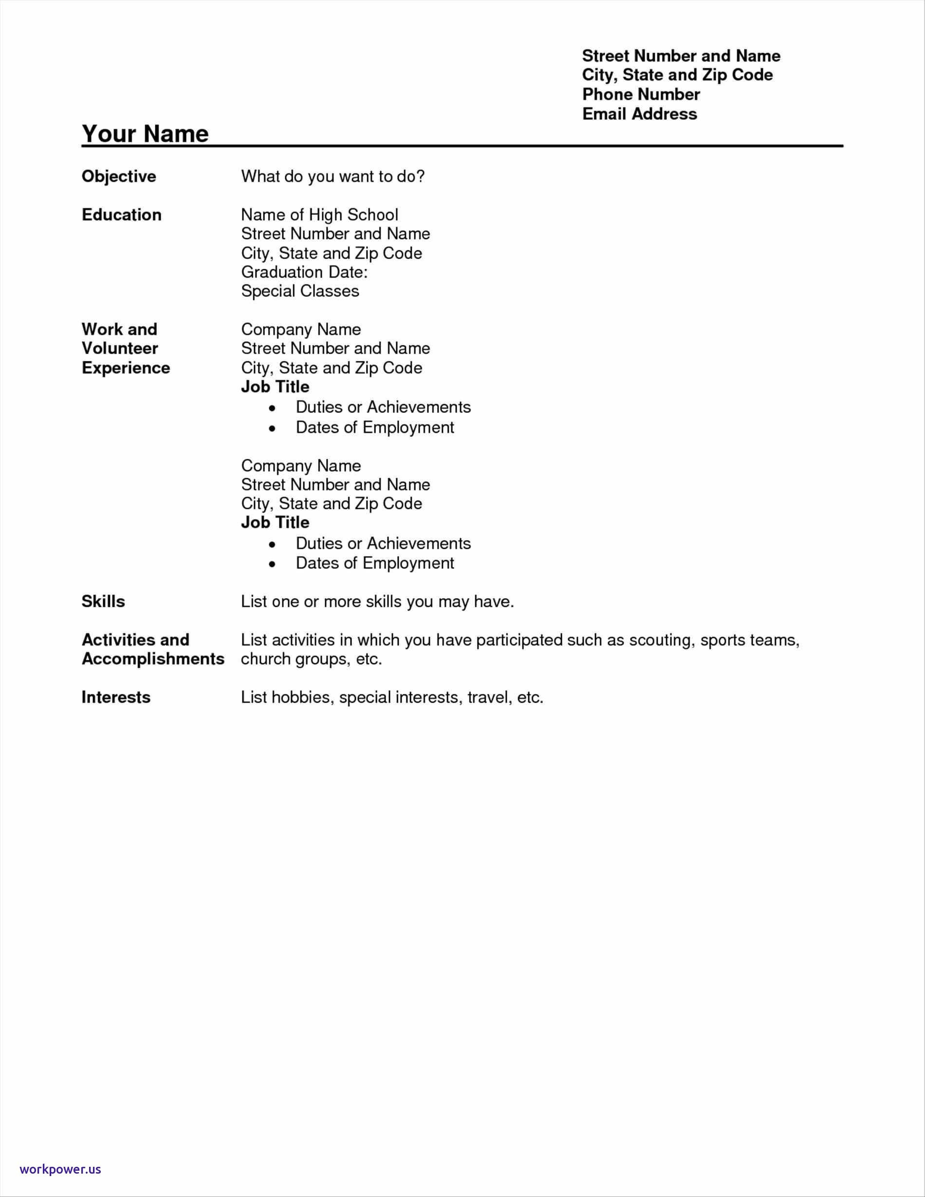 High School Resume Template Pdf - Resume Template for High School Student with No Work Experience