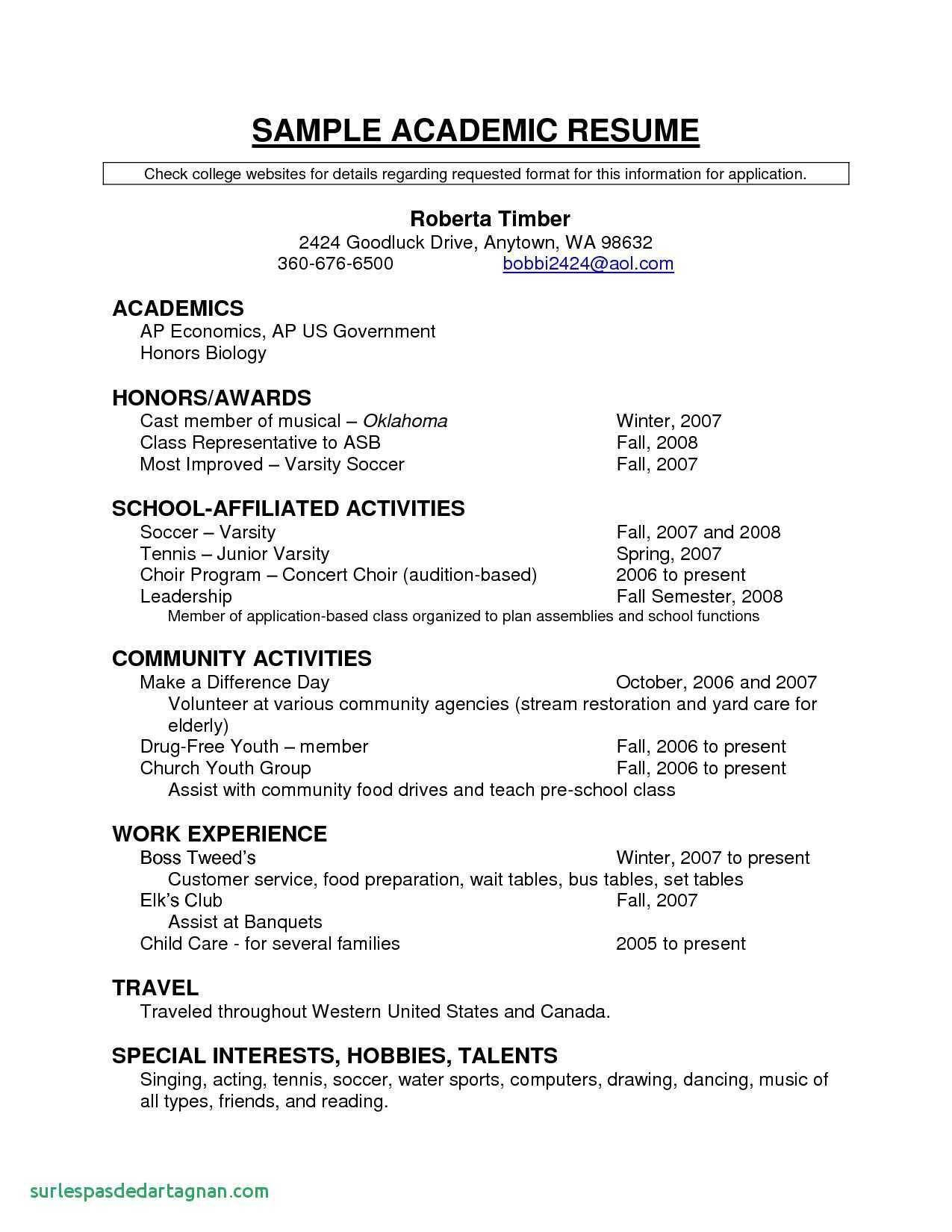 High School Scholarship Resume Template - 37 Inspirational Academic Resume Template