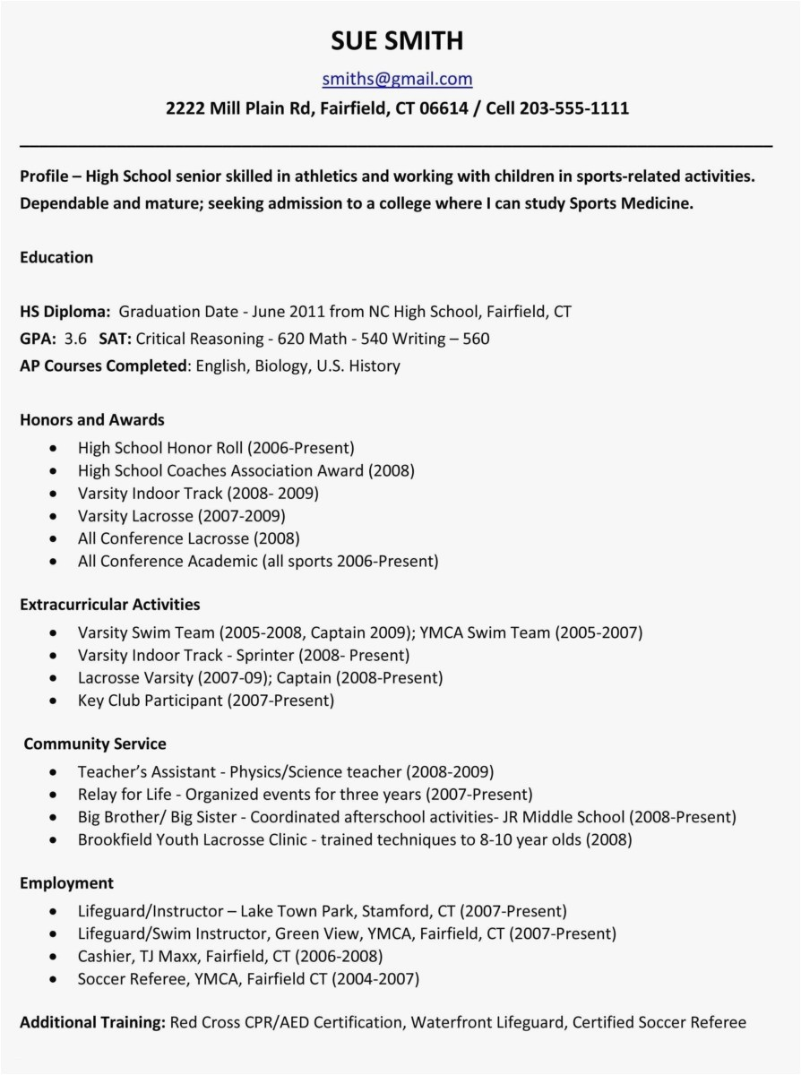 High School Student athlete Resume - How to Make A Resume for A Highschool Student Lovely 20 Example High