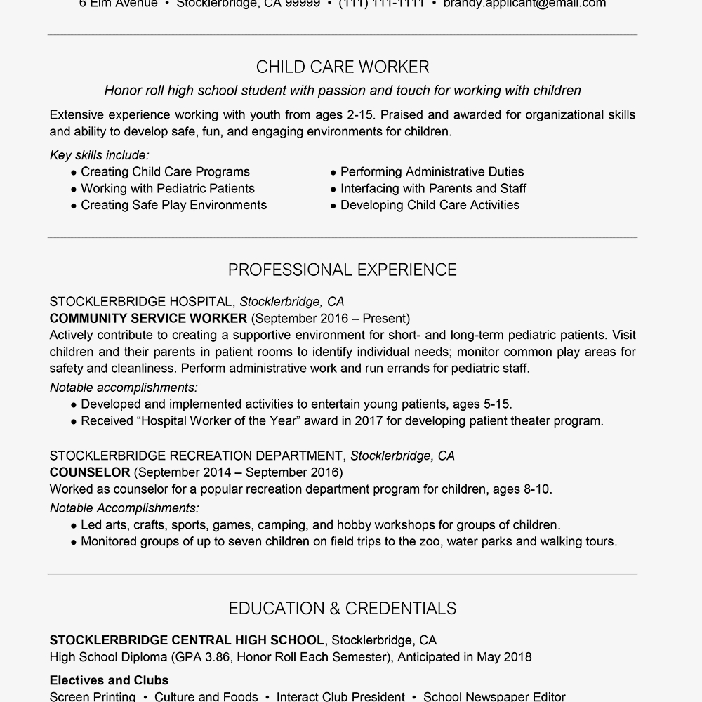 High School Student Resume Template Google Docs - High School Resume Example with Summary