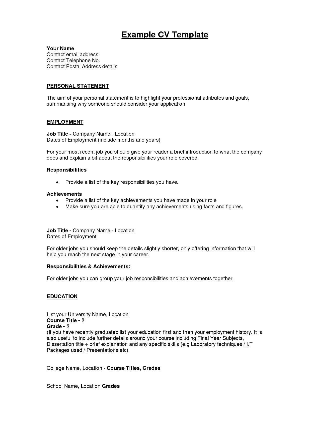 Hobbies for Resume - Cv Template Hobbies and Interests New No Experience Resume Template