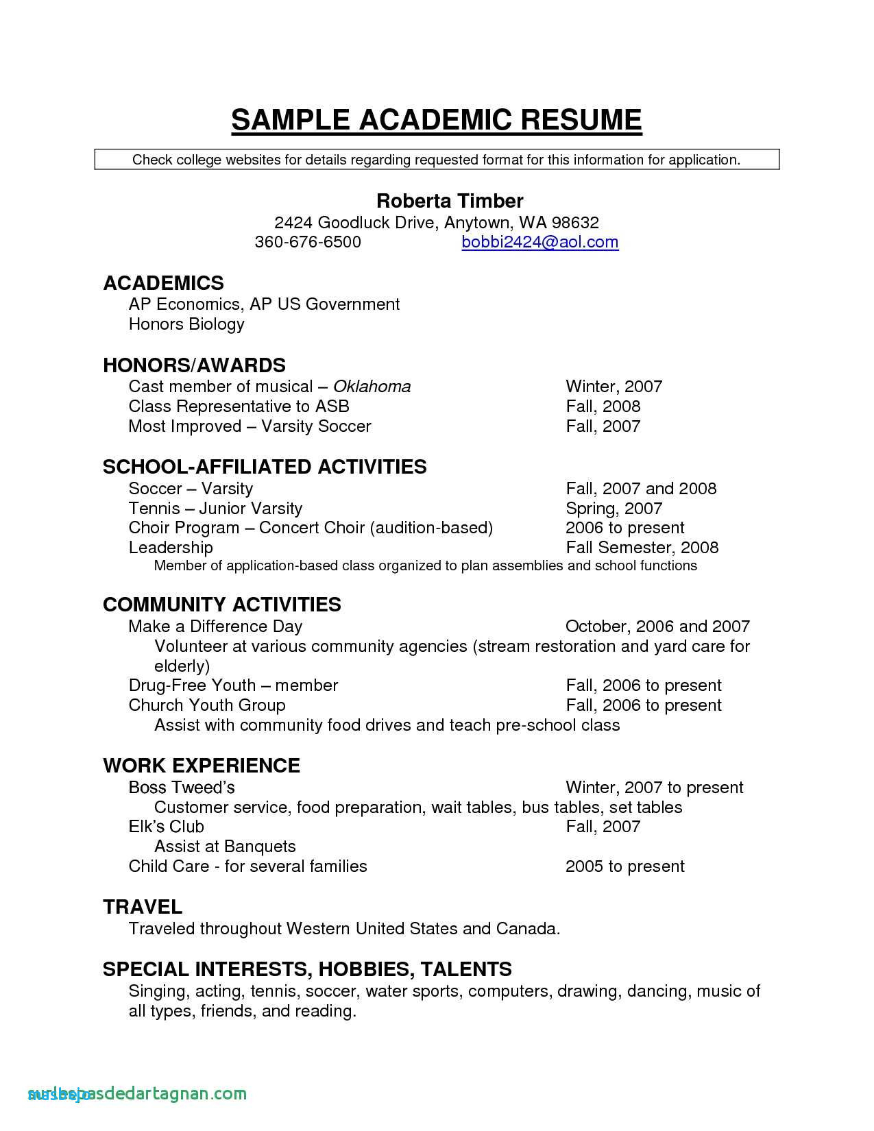 Hobbies for Resume - Puter Resume Examples Unique Resume for Highschool Students