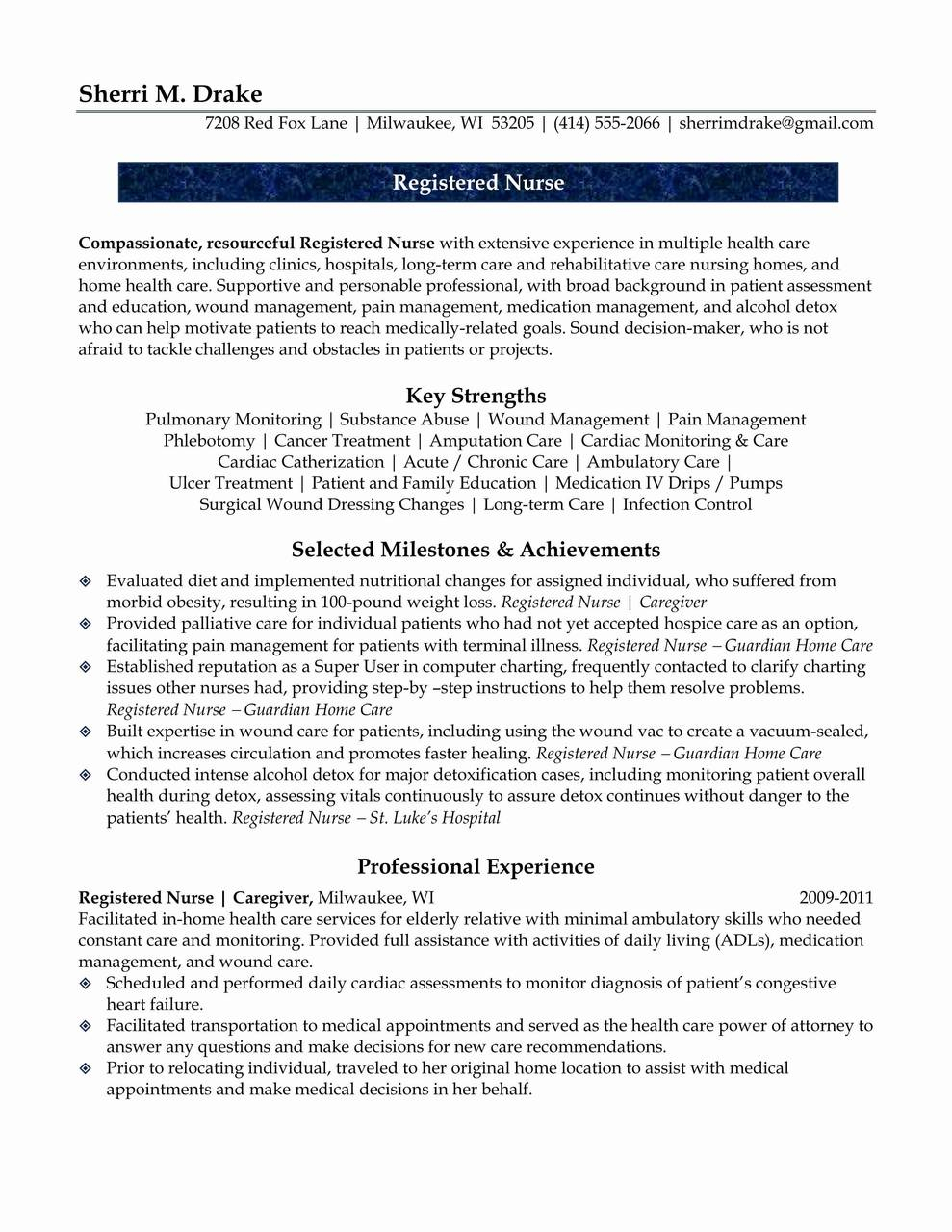 Home Care Nurse Resume - Resume for Nursing Job Literarywondrous Critical Care Nurse Resume