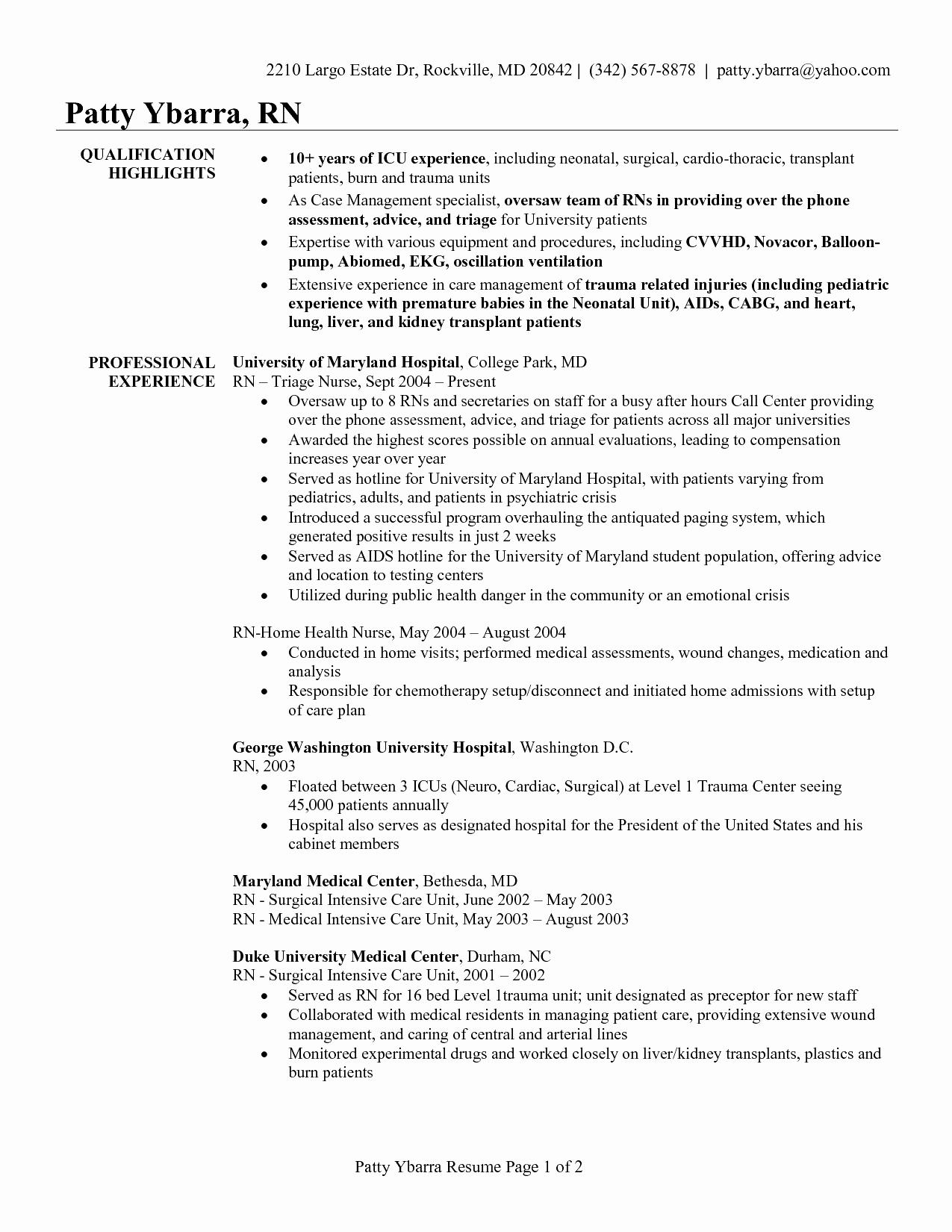 Home Care Nurse Resume Sample - Sample Resume for Newly Registered Nurses Unique Best New Nurse