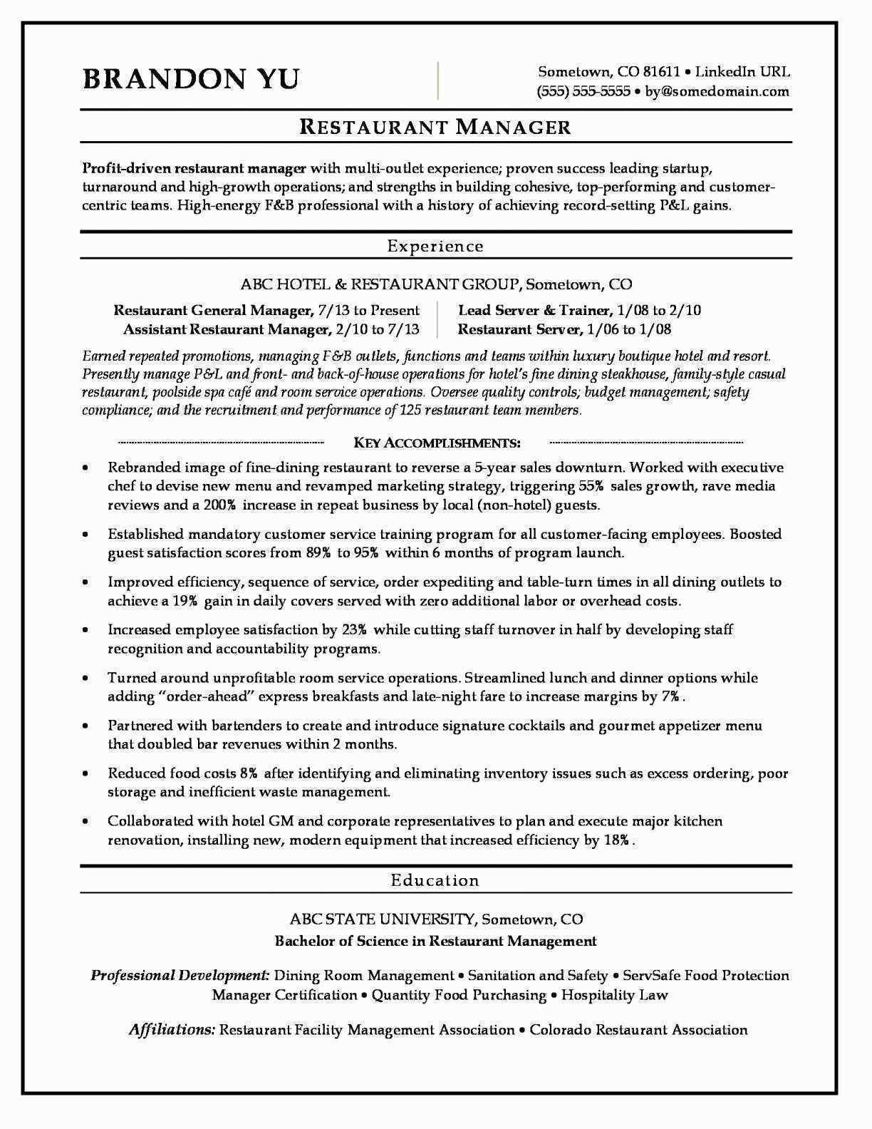 Hospitality Manager Resume - Resume Samples for Hospitality Industry Elegant ¢Ë†Å¡ Google Docs