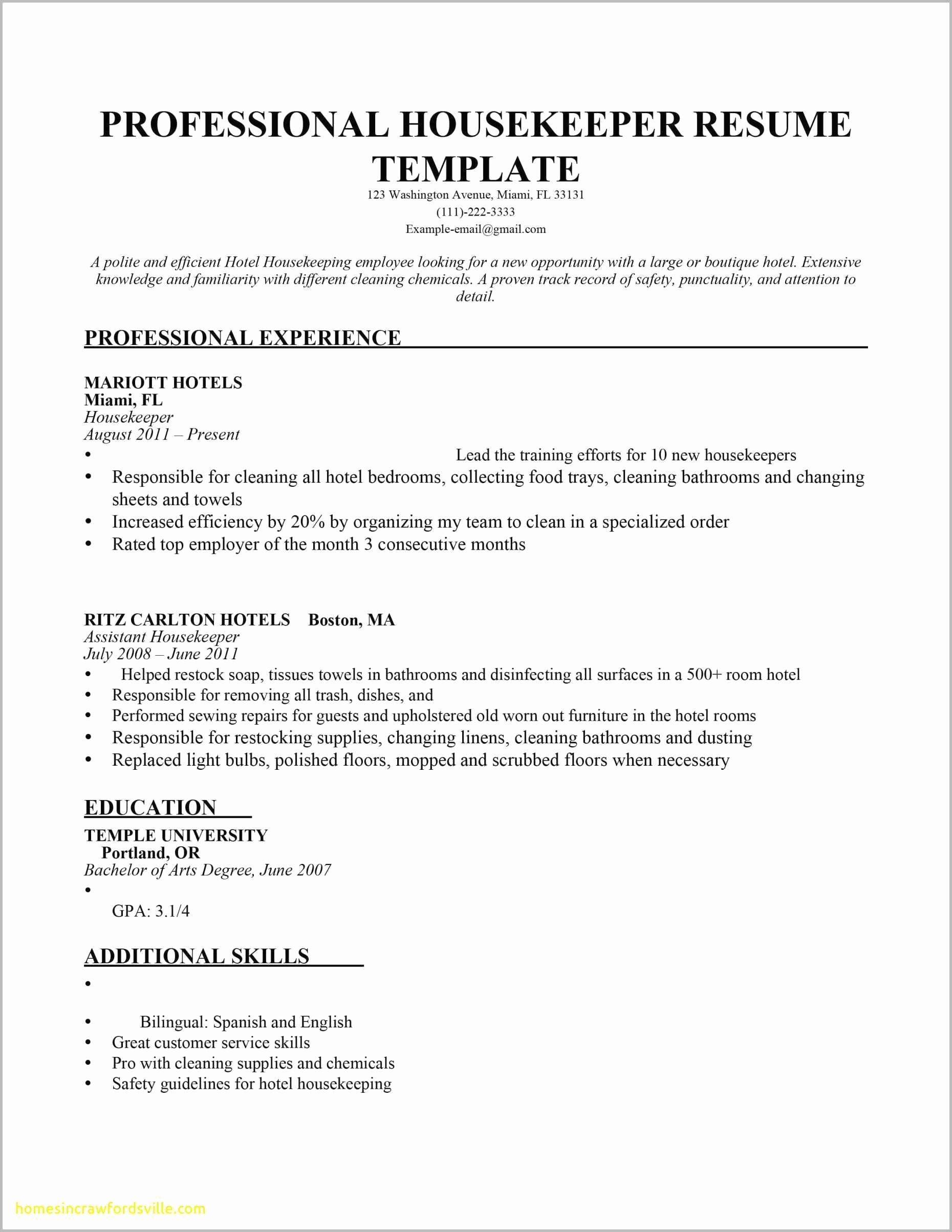 Hotel Housekeeping Resume - Sample Resumes for Housekeepers Hotel Housekeeping Resume Example