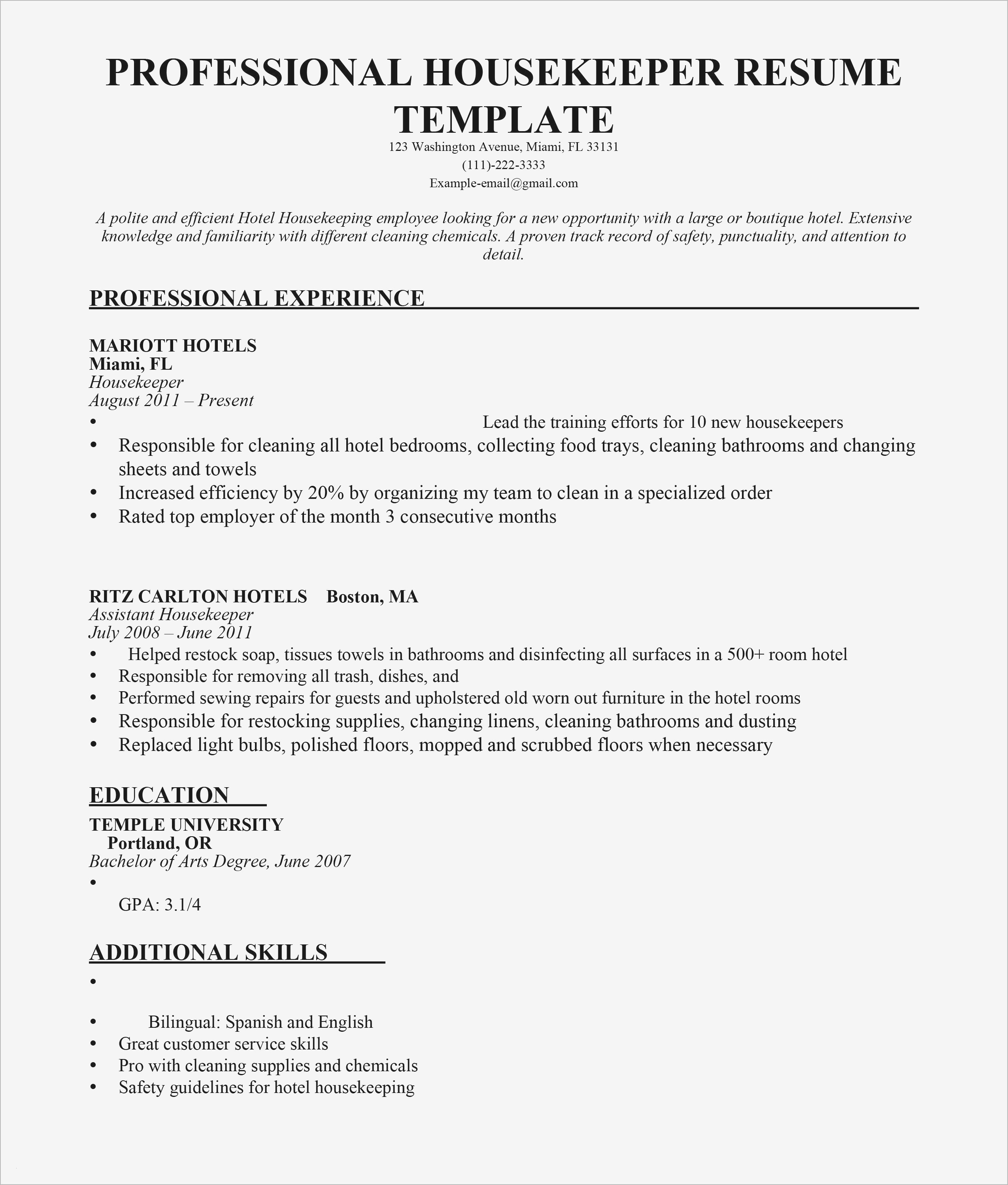 Hotel Housekeeping Resume - Resume for Hotel Housekeeping New Housekeeping Description for