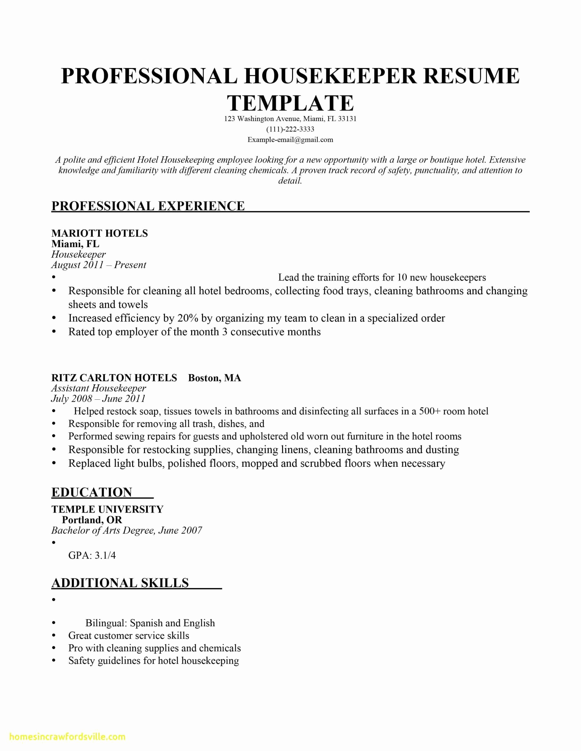 Hotel Housekeeping Resume Sample - 50 House Cleaning Invoice Template
