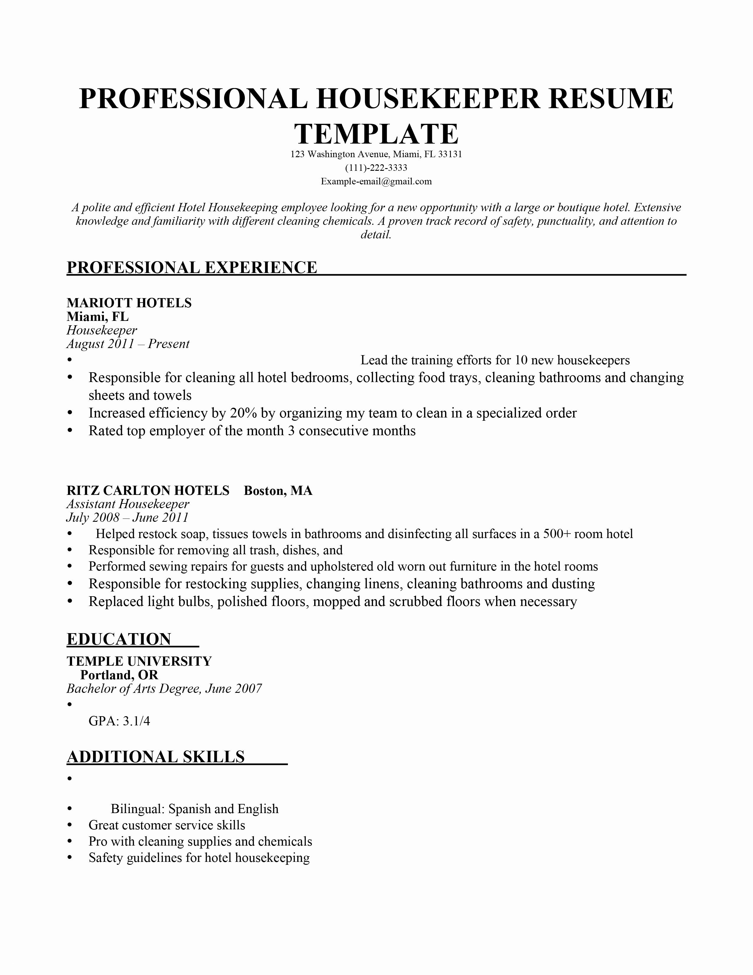 House Keeping Resume - 19 Hotel Housekeeping Resume