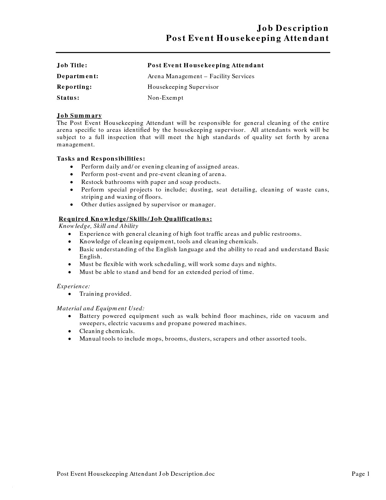 Housekeeping Job Description for Resume - Hotel Housekeeping Job Description for Resume Best Hotel