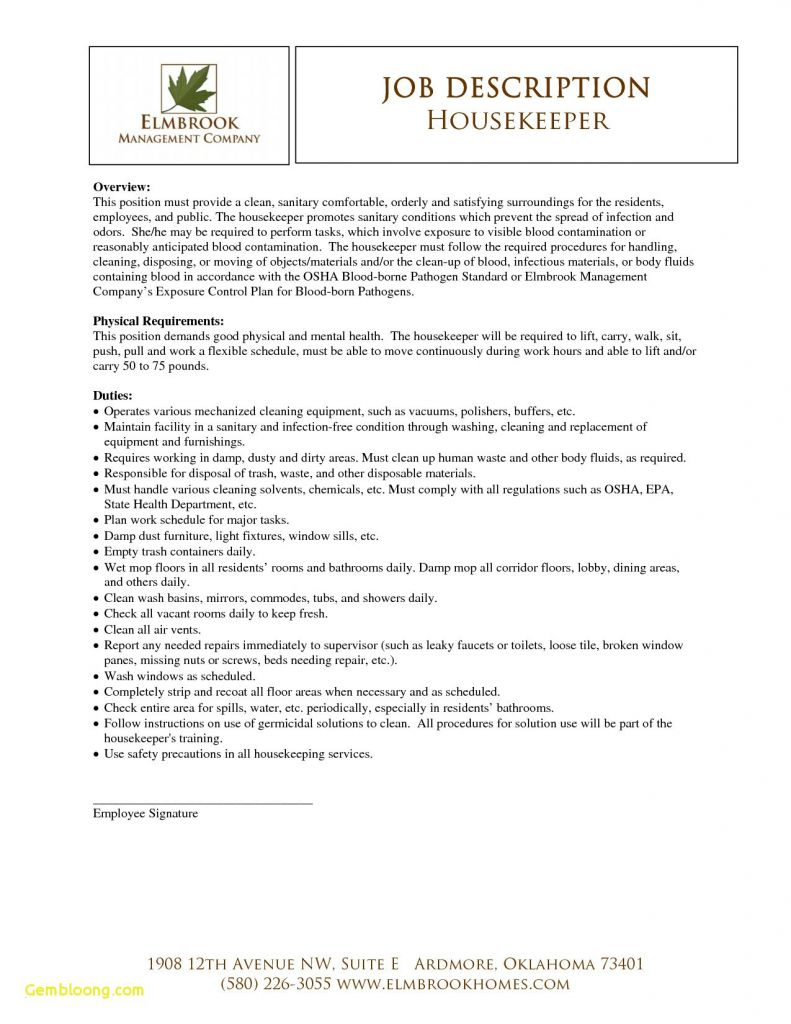 Housekeeping Job Description for Resume - Favorite Resume Templates for Housekeeping Jobs Vcuregistry