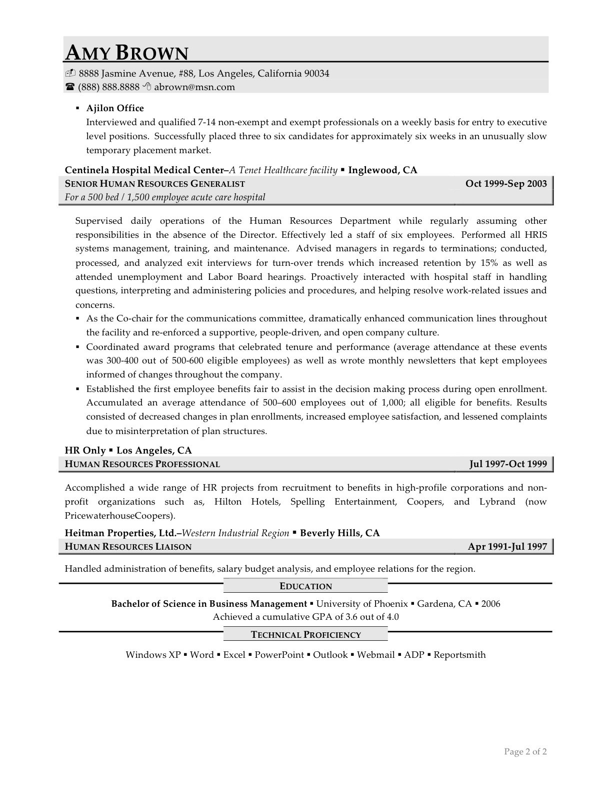 Hr Generalist Resume - Hr Generalist Resume Fresh Best Examples Resumes Ecologist Resume 0d