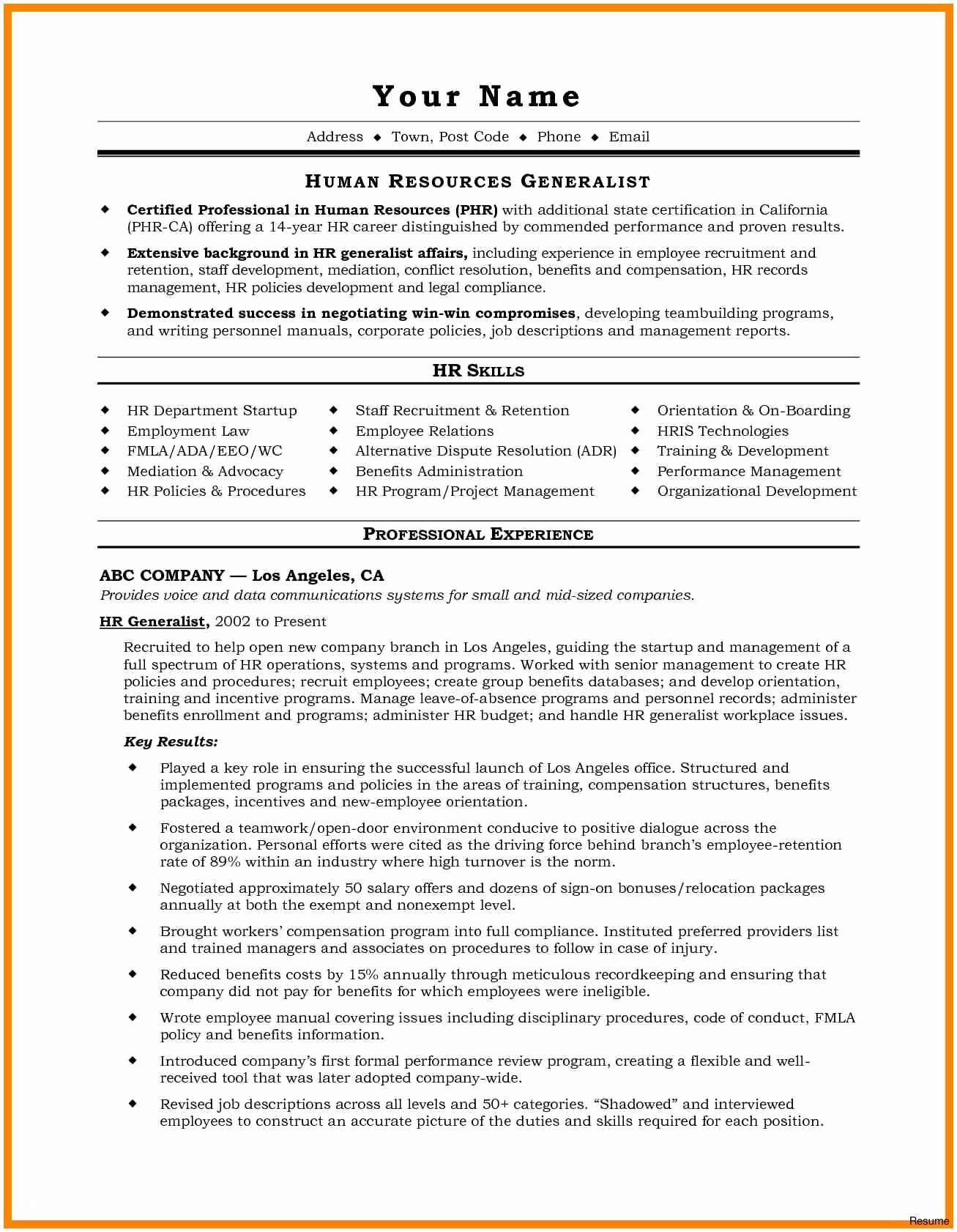 Hr Generalist Resume Template - Sample Hr Generalist Resume