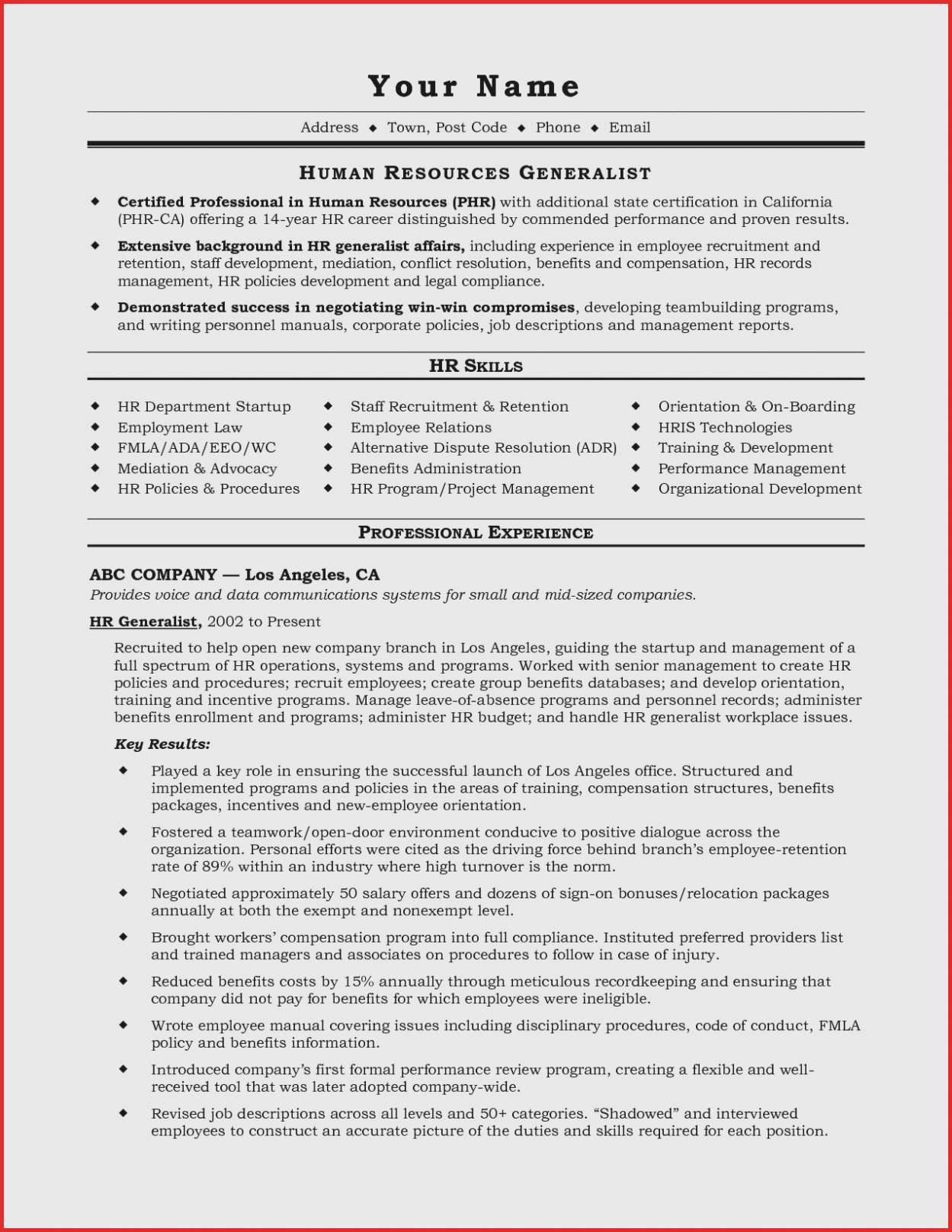 Hr Manager Resume - 23 Luxury Hr Generalist Resume